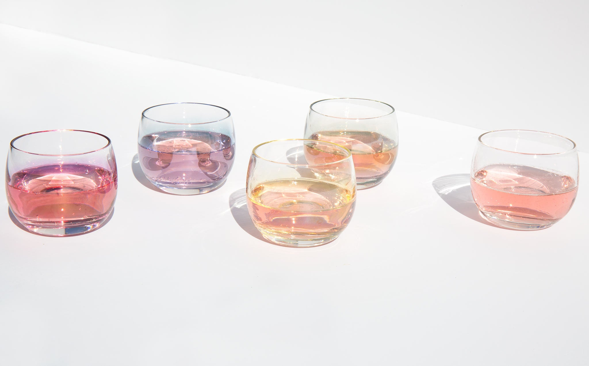 Iridescent Roly Poly Cordial Glasses