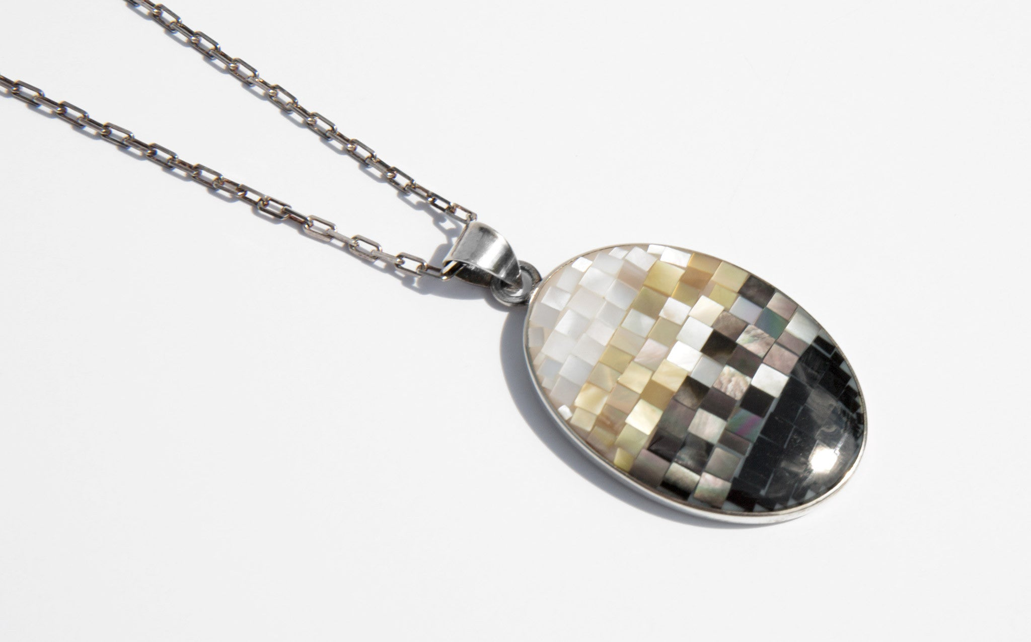 Ombre Mother of Pearl and Sterling Silver Pendant Necklace