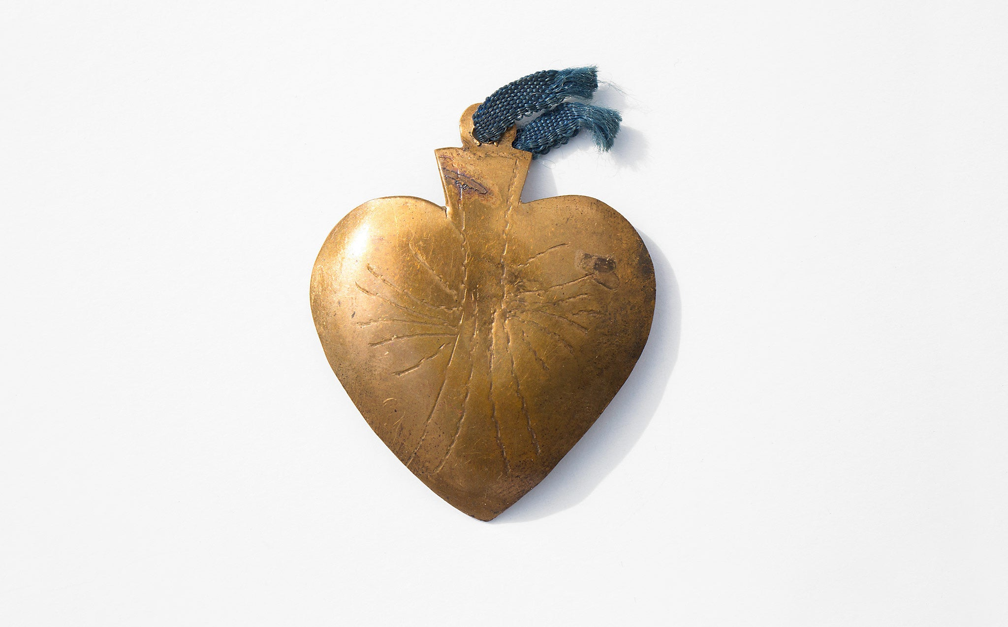 Vintage Large Brass Heart Milagro