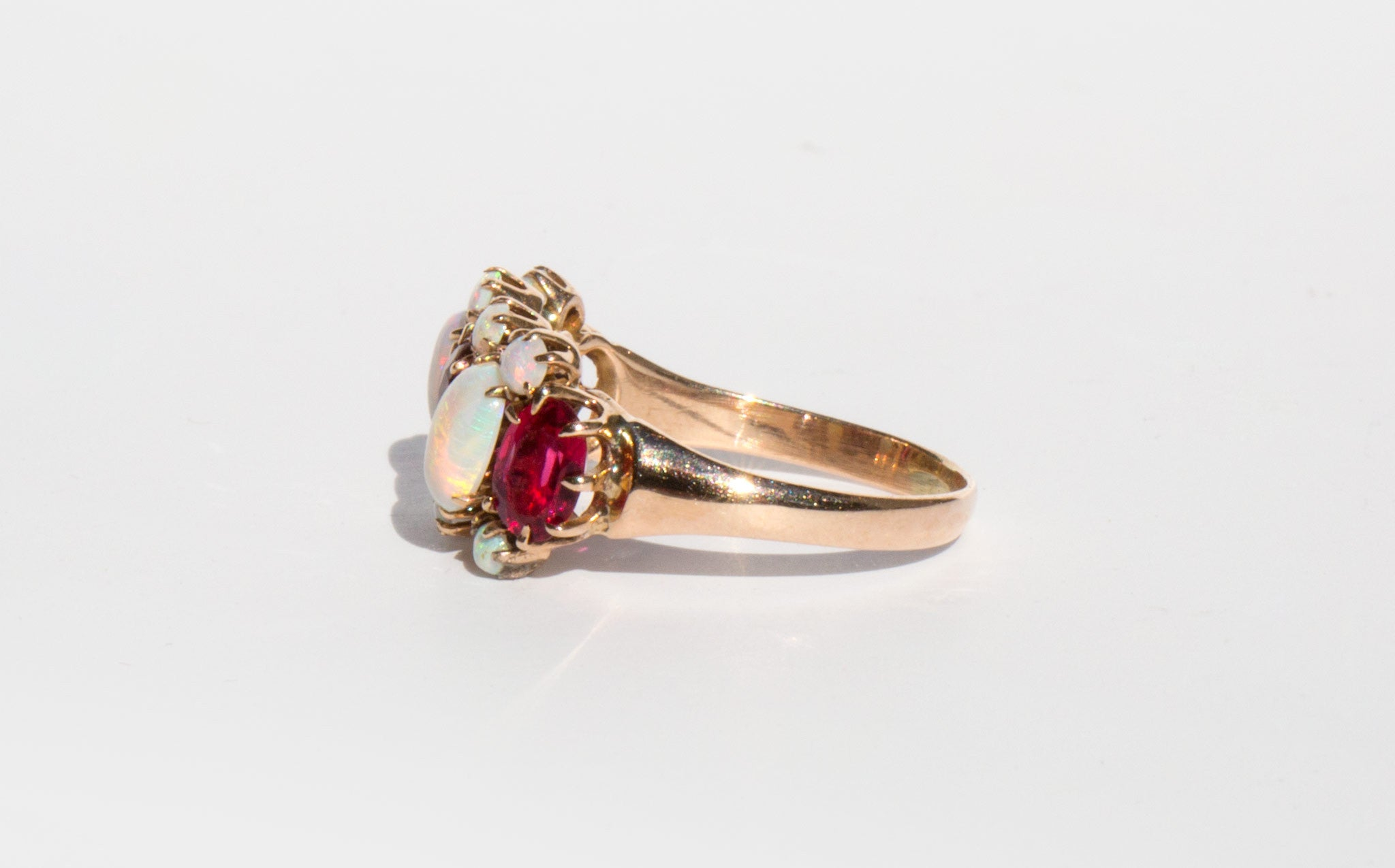 Victorian 14k Opal and Garnet Ring