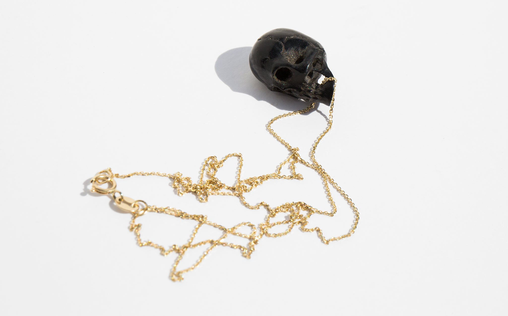 Victorian Black Coral Skull Necklace
