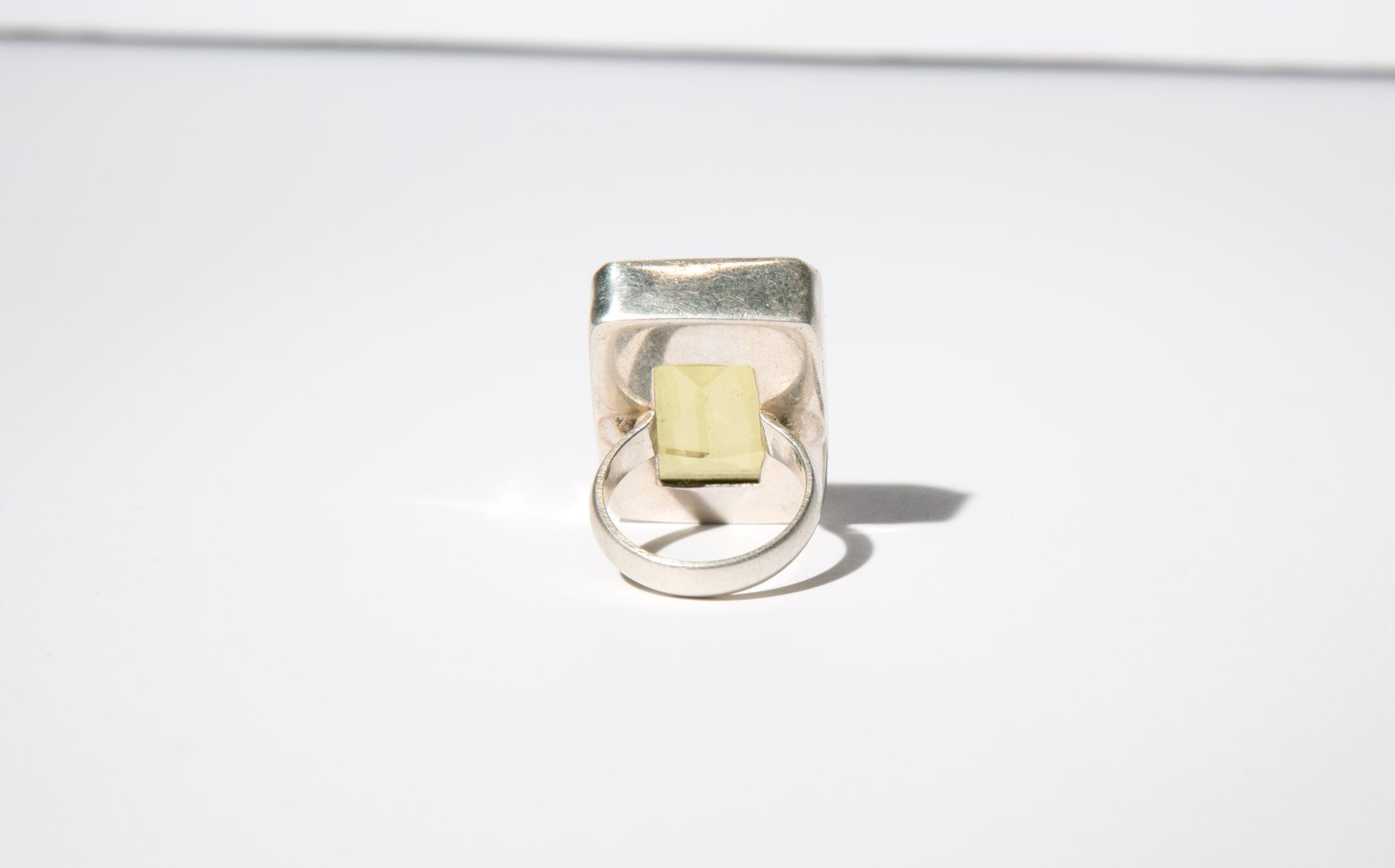 Chartreuse and Sterling Cocktail Ring