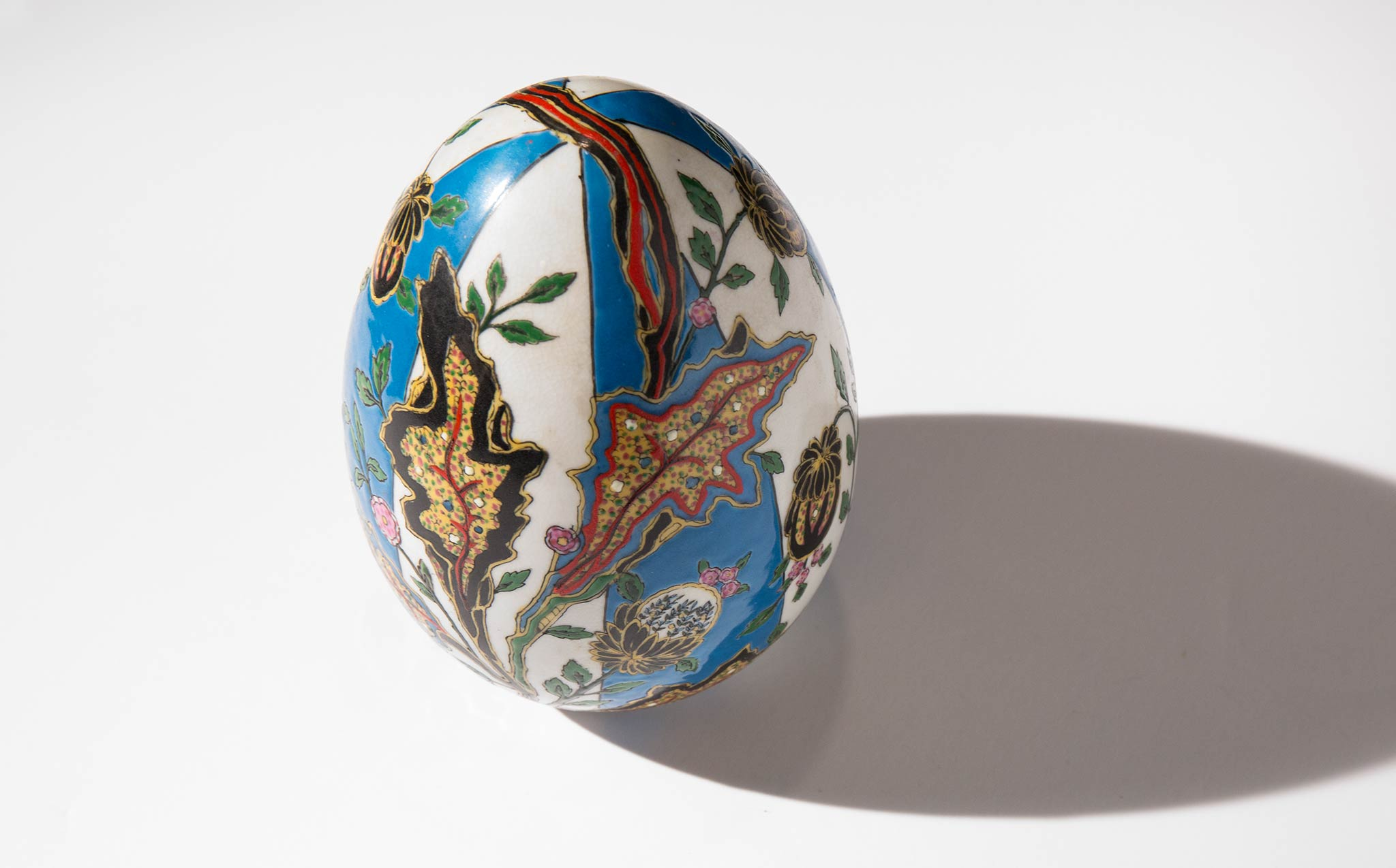 Hand Painted Floral Ceramic Egg