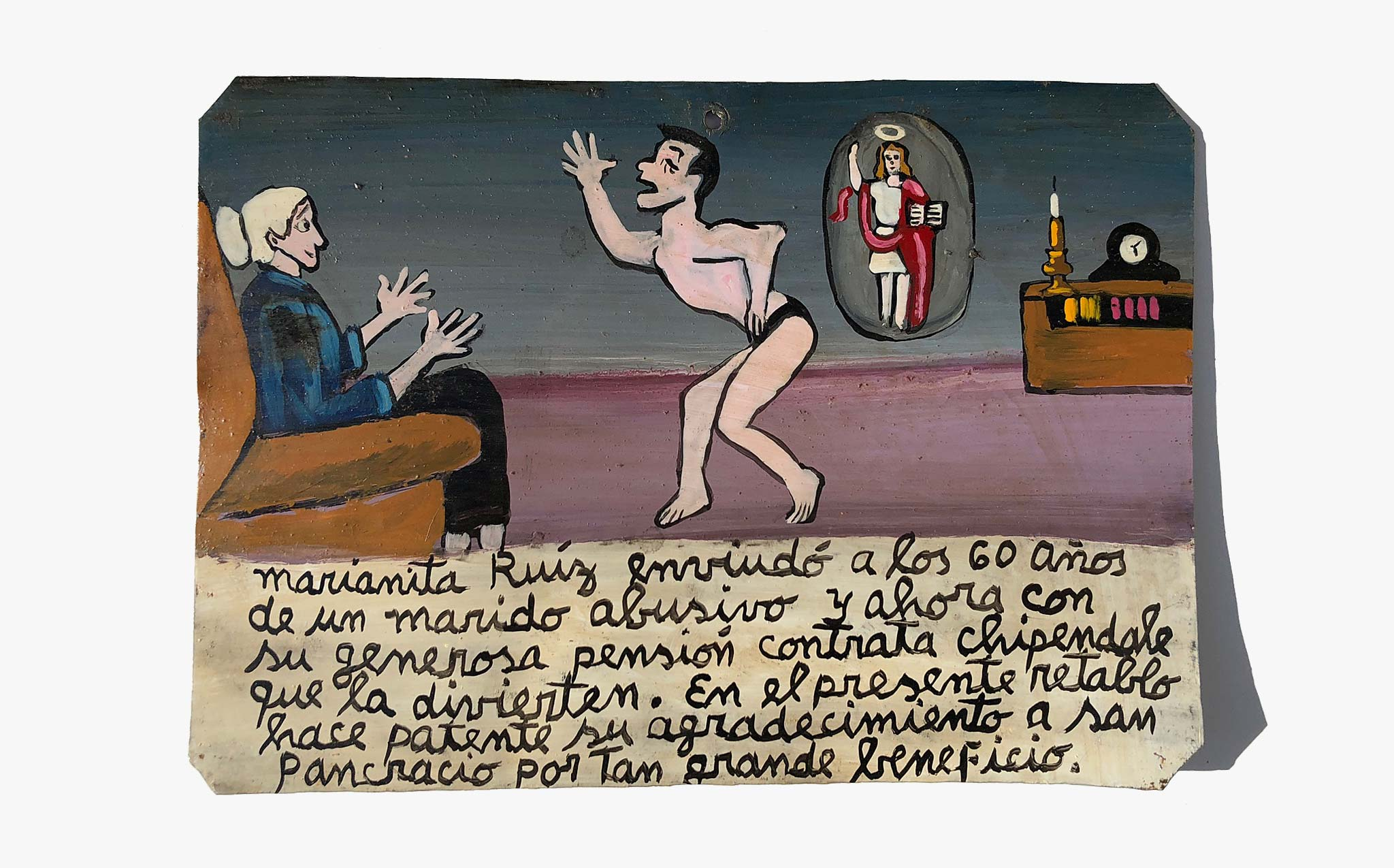 The Widow Hires a Stripper Retablo
