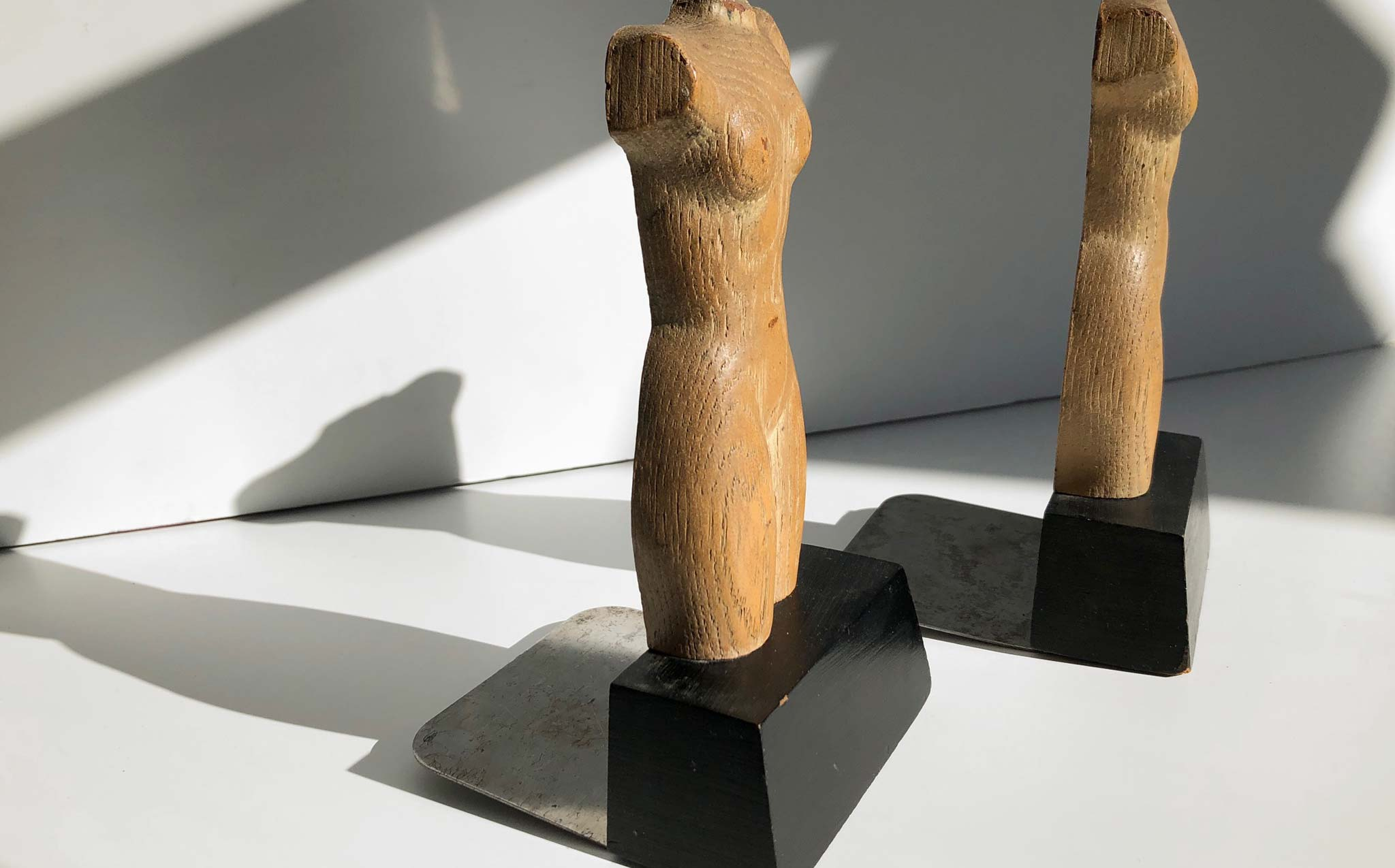 Wooden Carved Torso Bookends