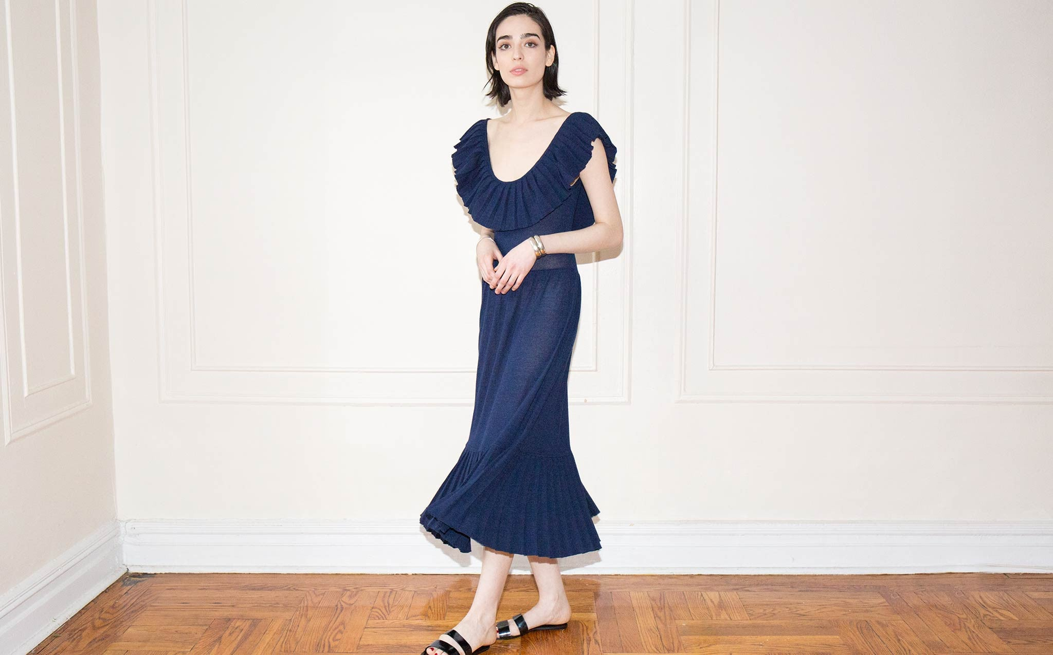 Hesperios Florence Eclipse Blue Neck Frill Dress