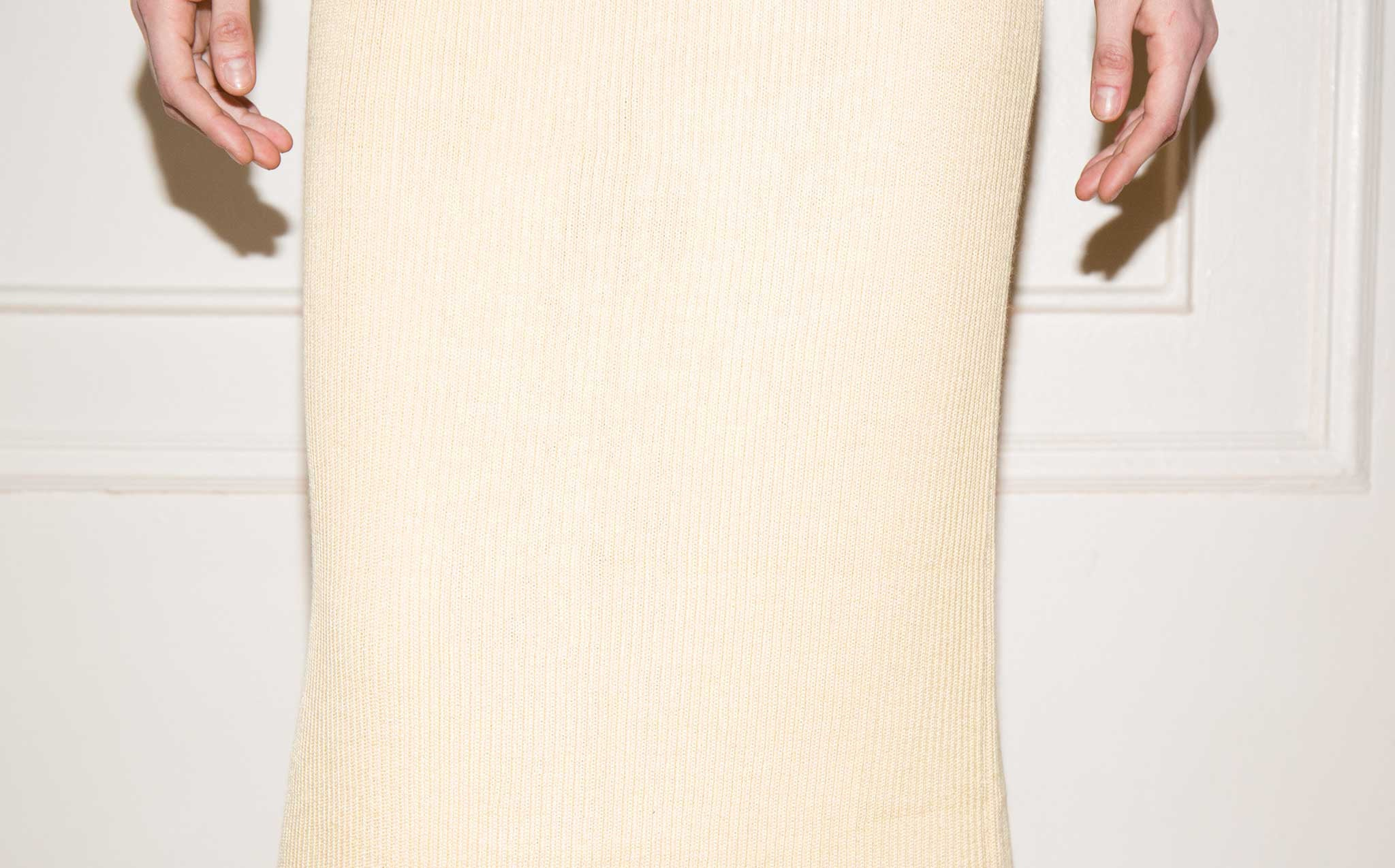 Hesperios Lou Bel Straw Yellow Ribbed Pencil Skirt