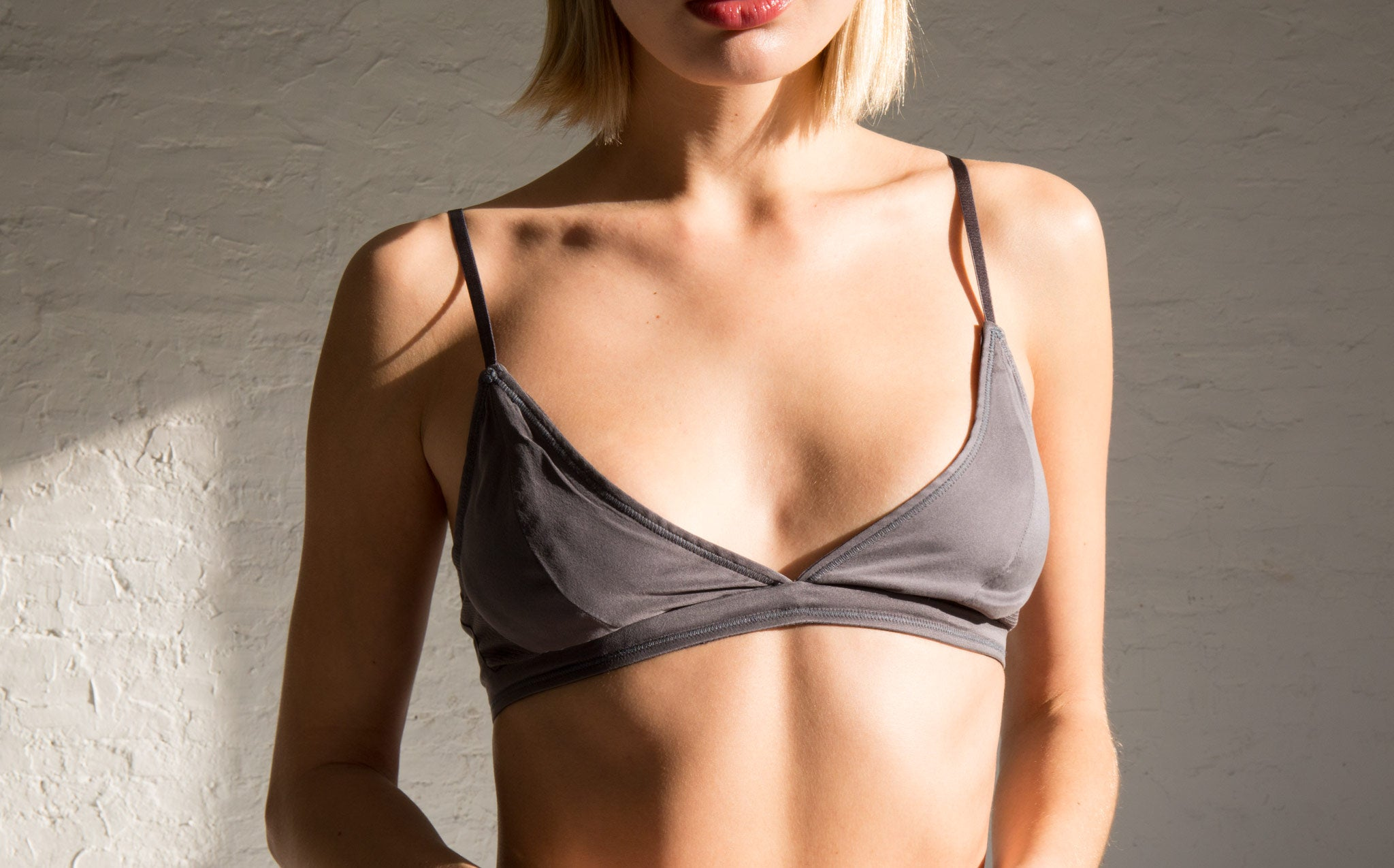 Kent Zap Slate Silk and Mesh Bra