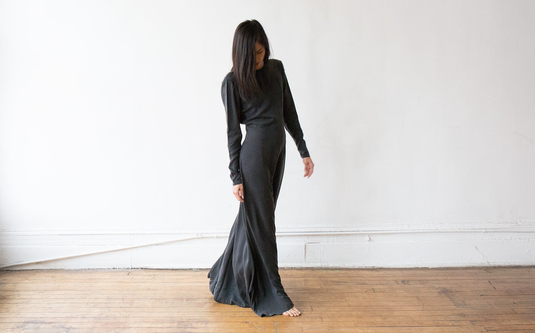 AWAVEAWAKE Silk Backless Dress kindred black