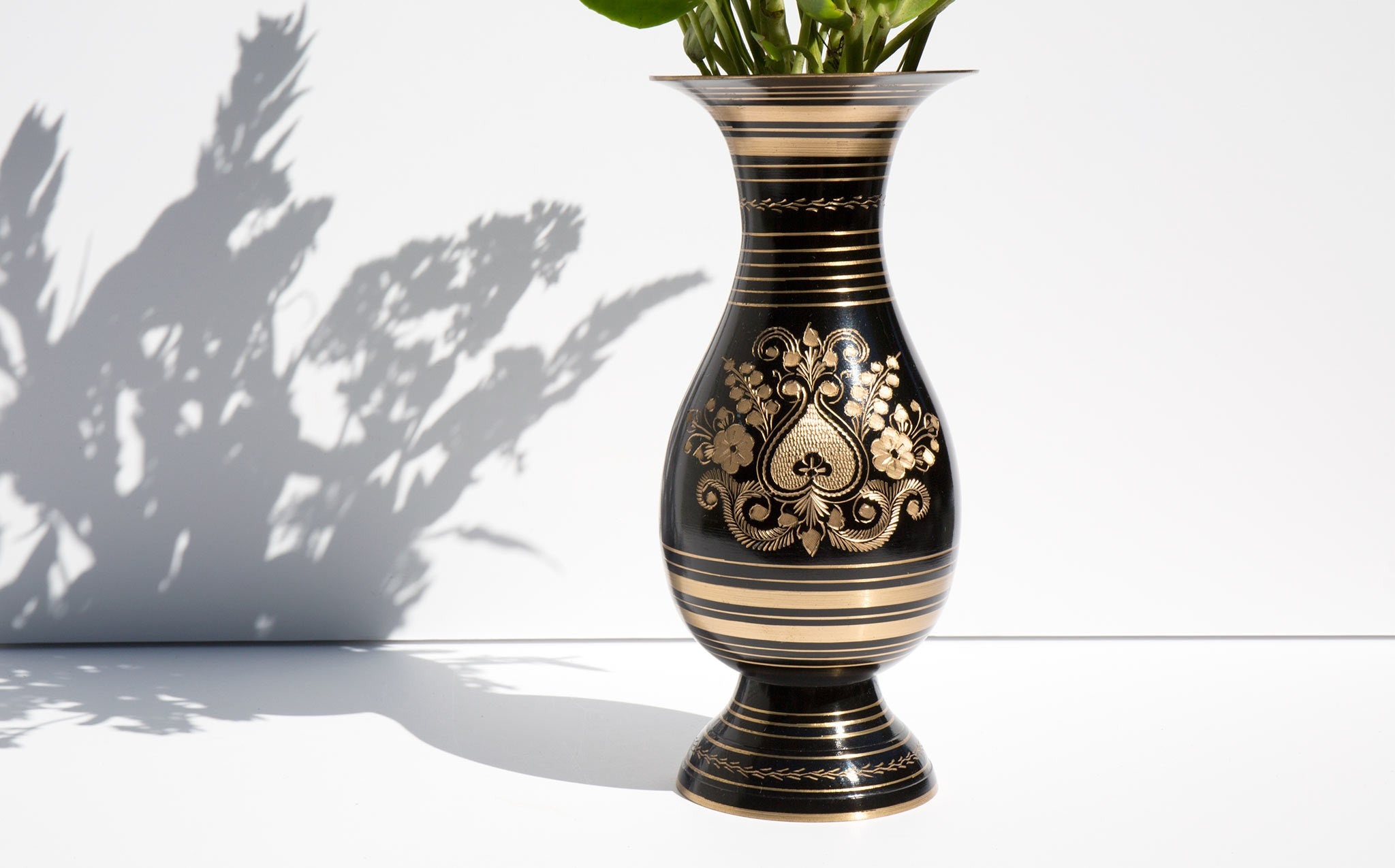 Black Brass Etched Vase