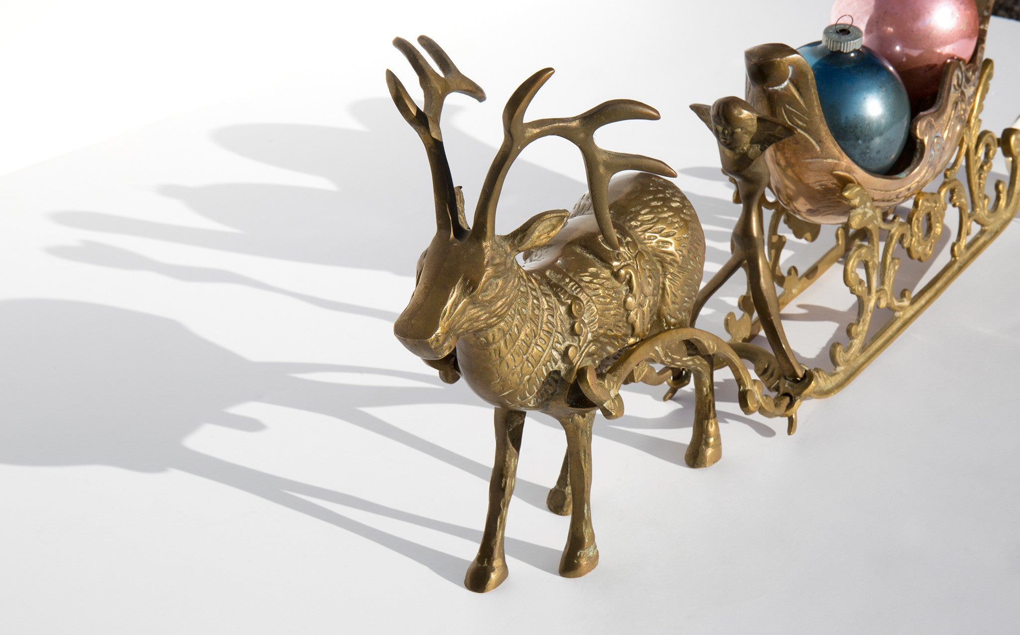 Vintage Brass Sleigh With Reindeer
