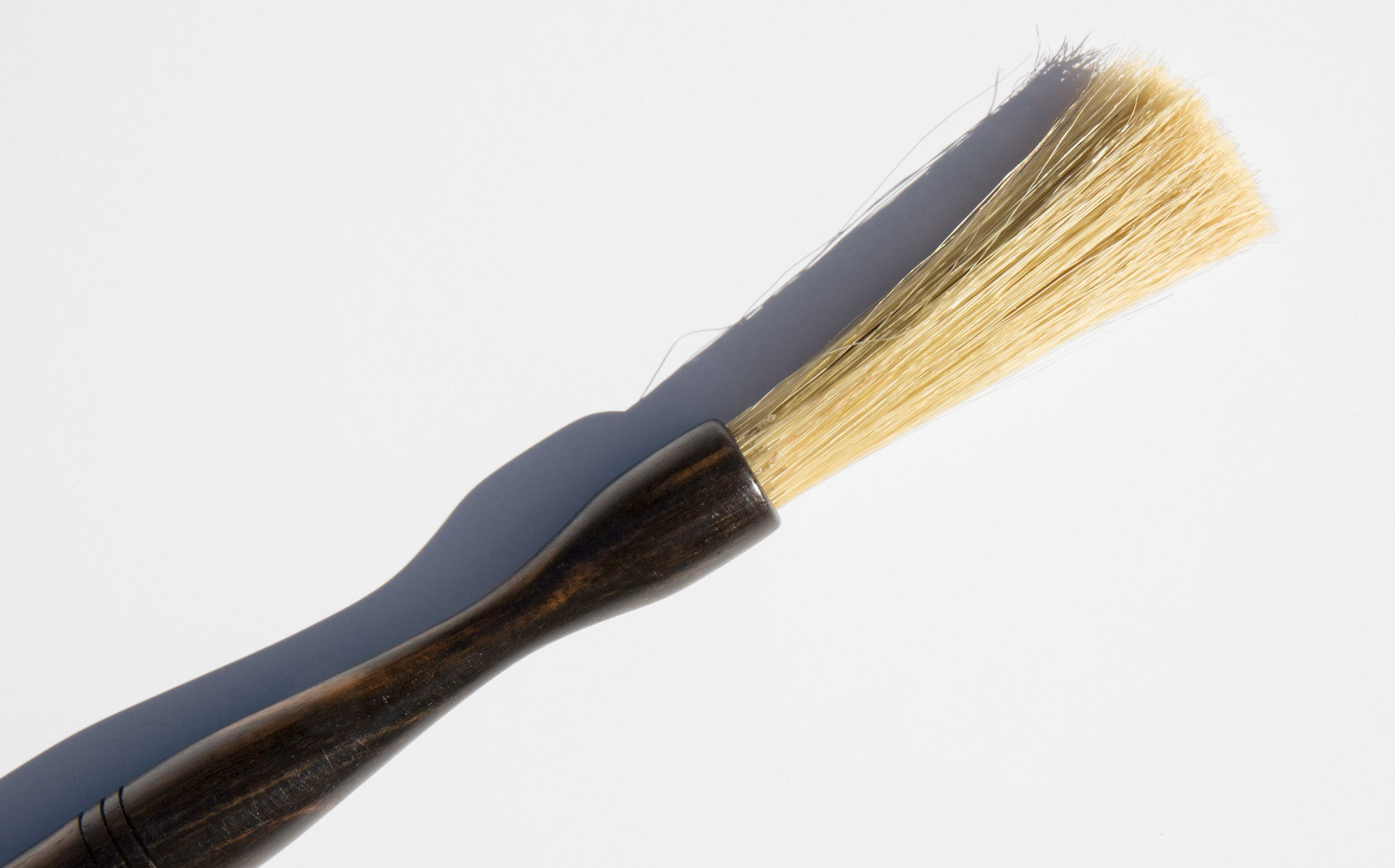 Hand Turned Ebony And Hog Bristle Basting Brush