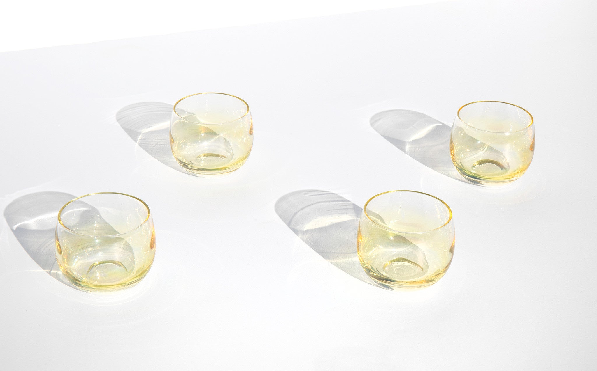 Opalescent Sunshine Roly Poly Cordial Glasses