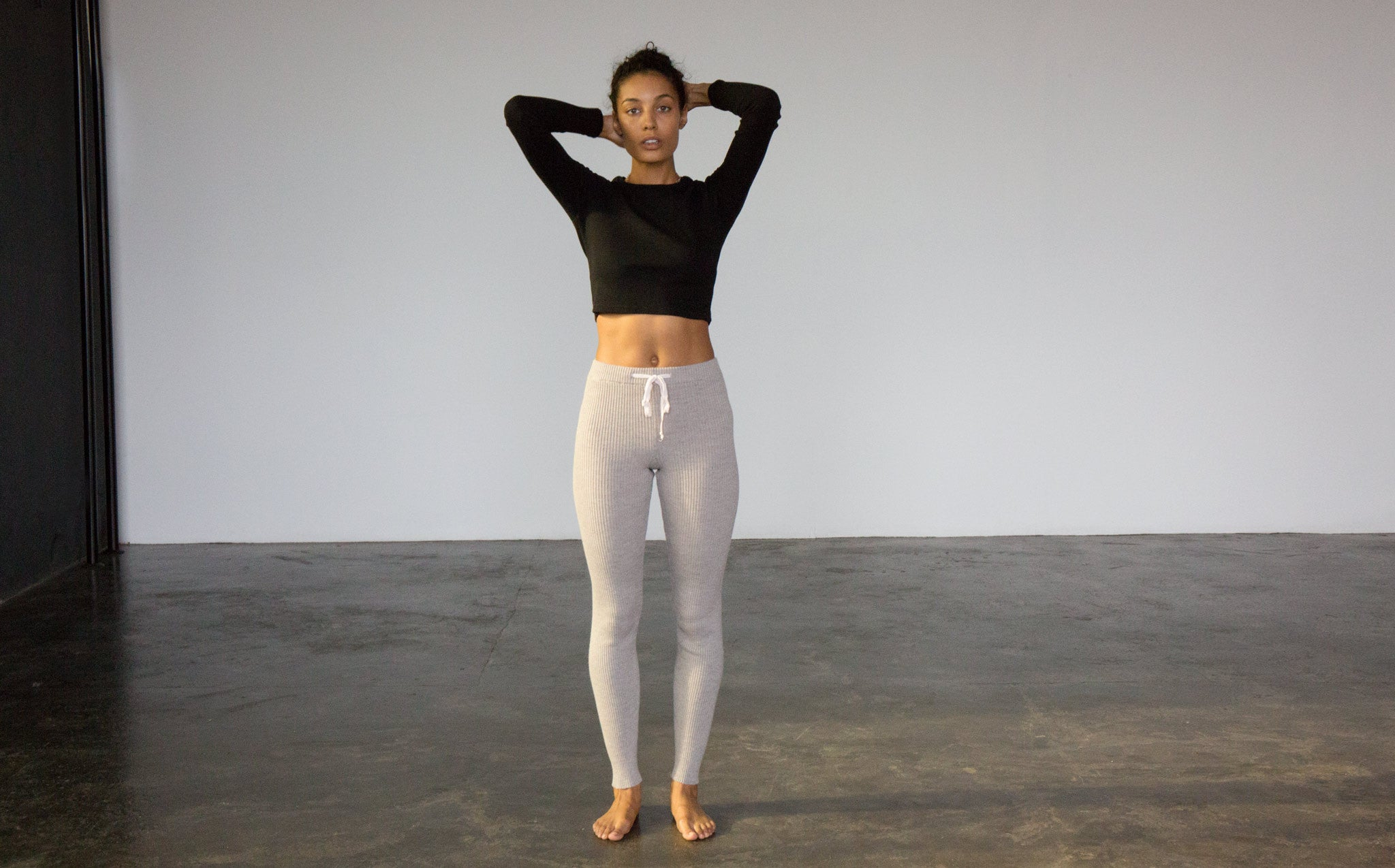 Micaela Greg Dove Grey Ribbed Slim Sweat