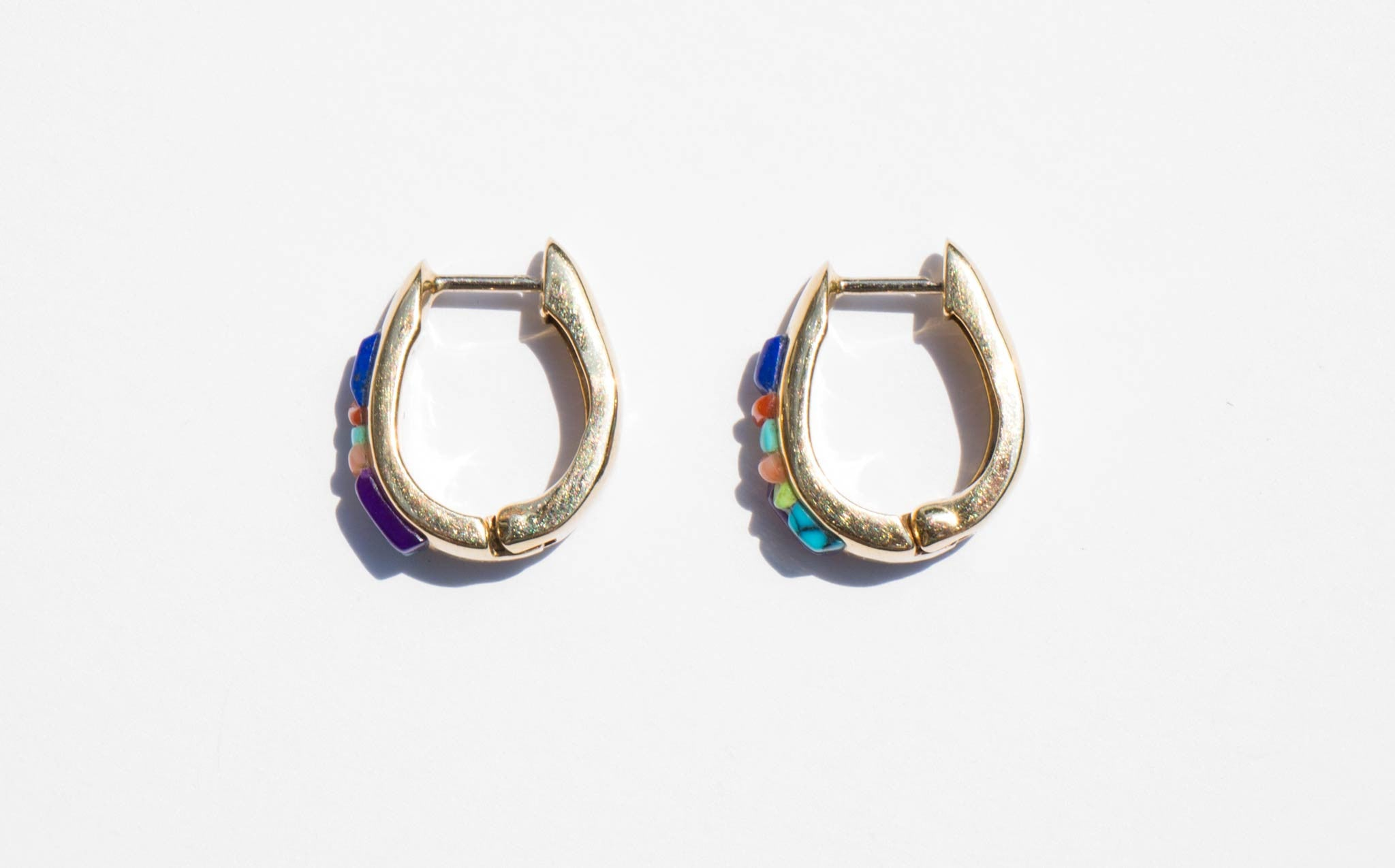 14K Gold With Natural Stone Inlay Earrings