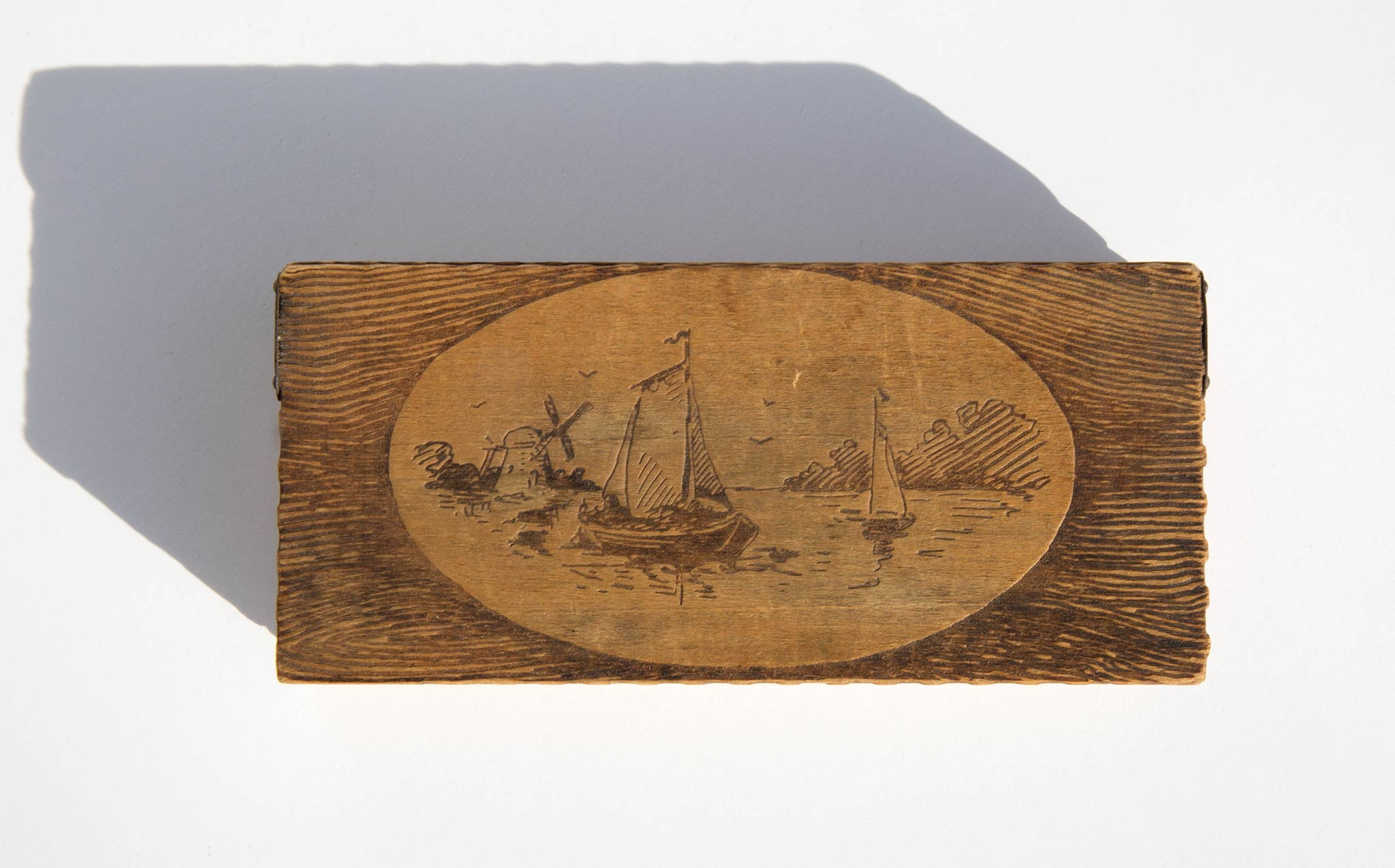 Nautical Etched Wooden Matchbox
