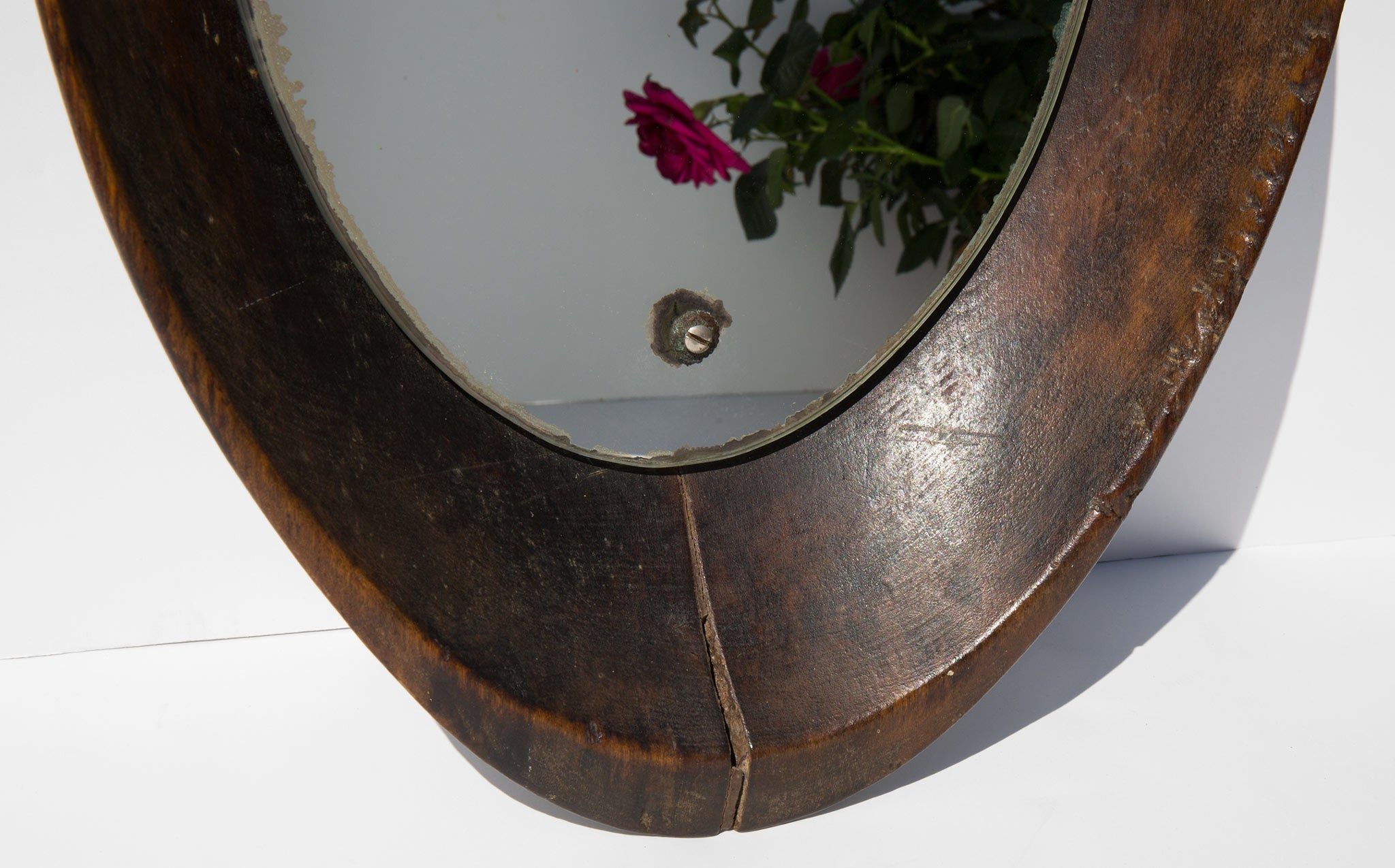 Vintage Wooden Bowl Mirror
