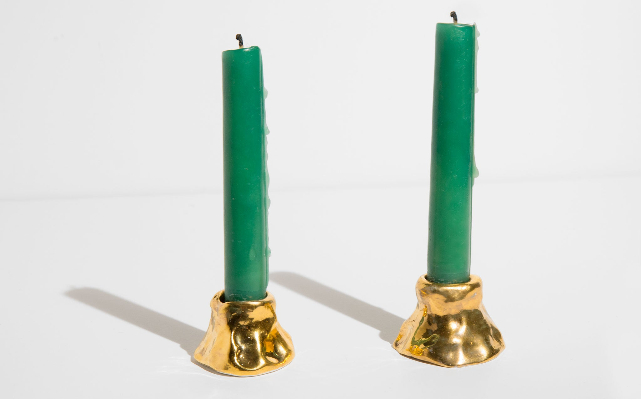 Workaday Handmade 24 K Gold Luster Candle Holders