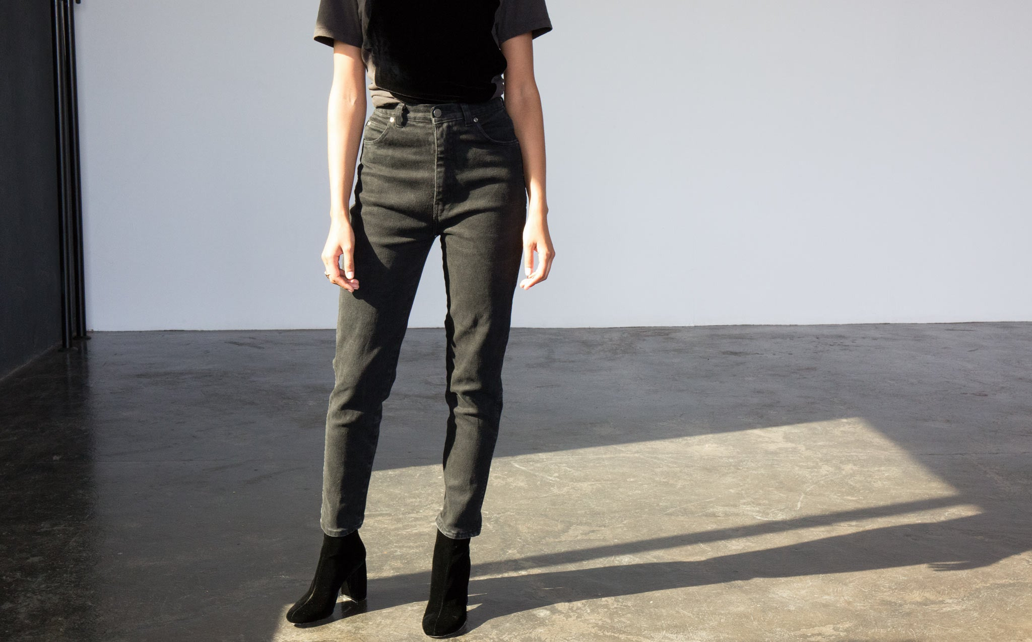 High-Waisted Black Denim