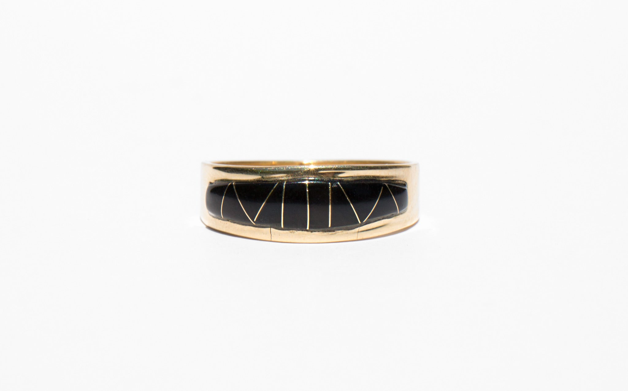 Jet Inlay and 14K Gold Band