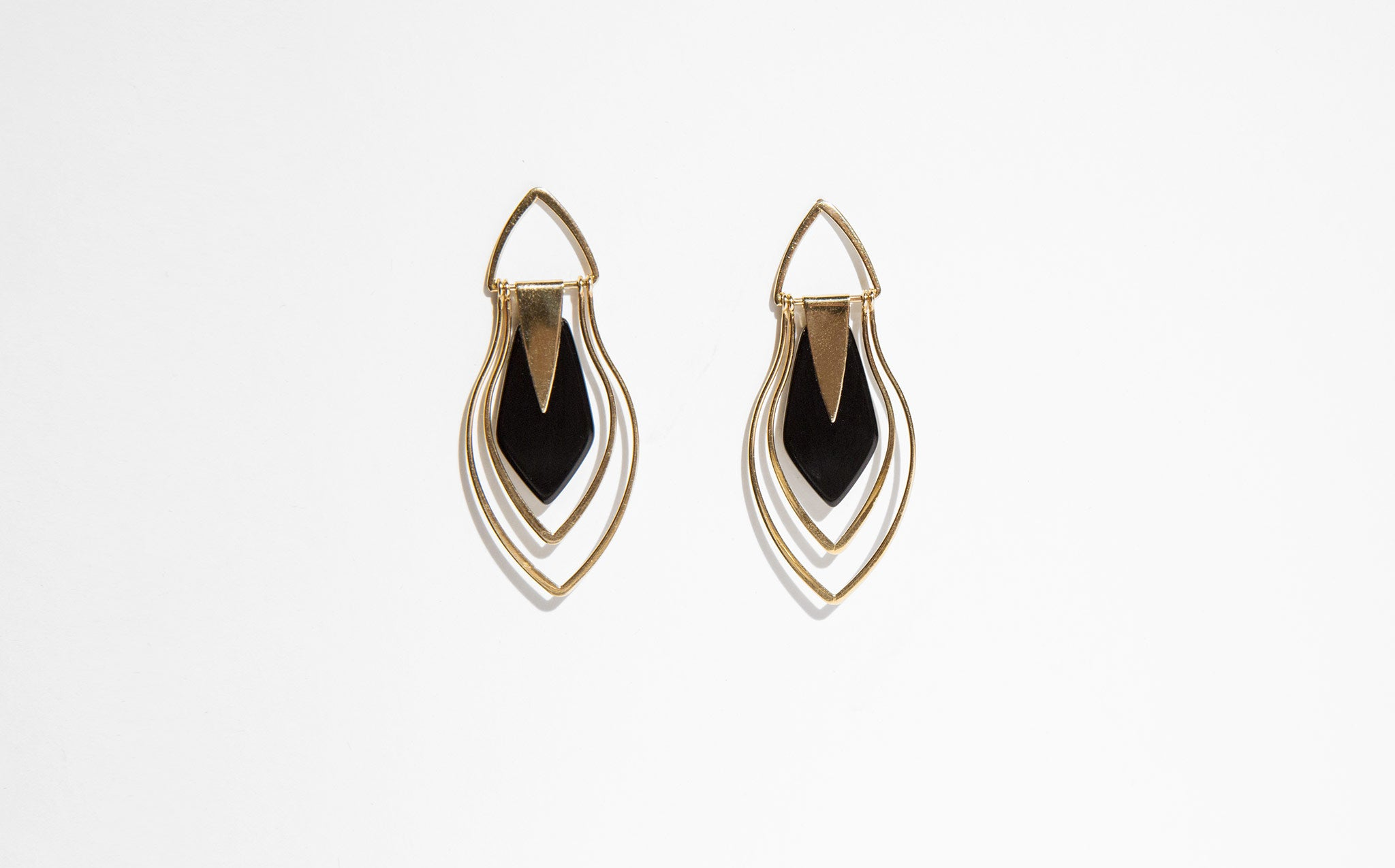Onyx and 14K Gold Deco Earrings