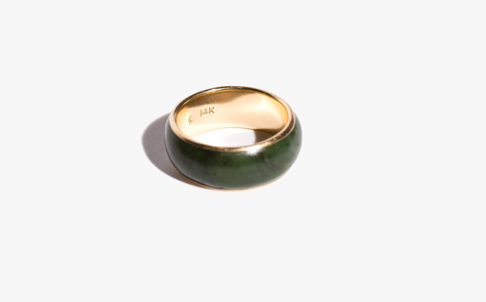 Jade and 14K Gold Band