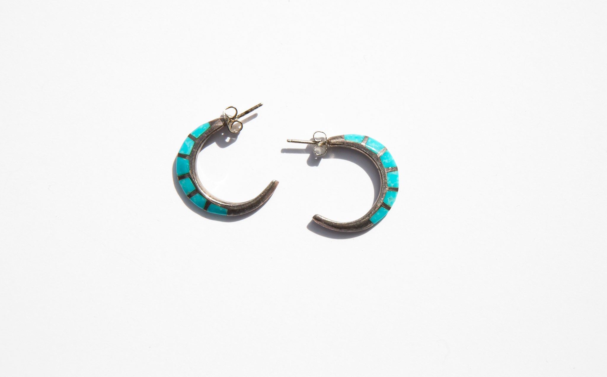 Silver and Turquoise Stone Crescent Earrings