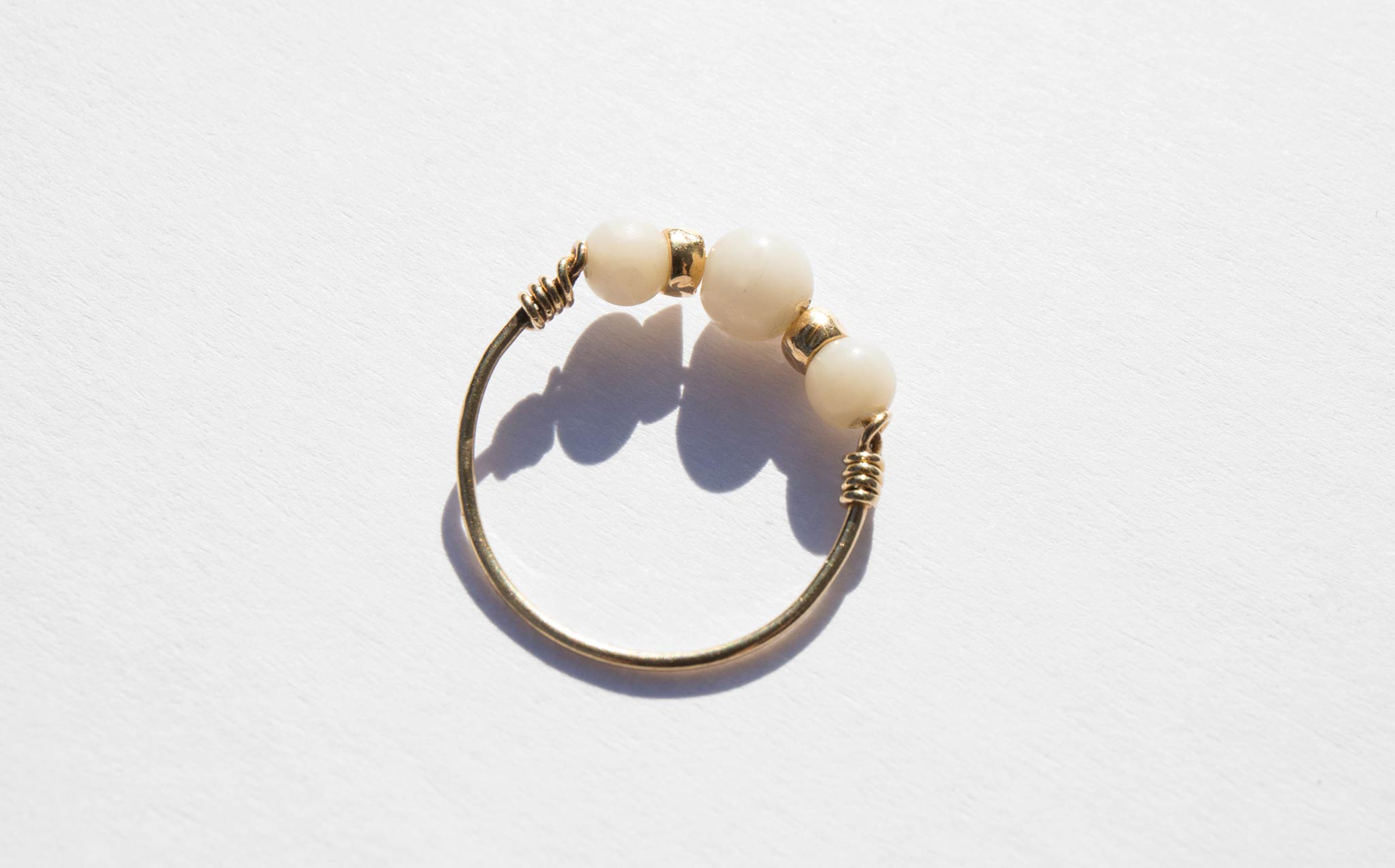 Gold and Coral Wire Ring