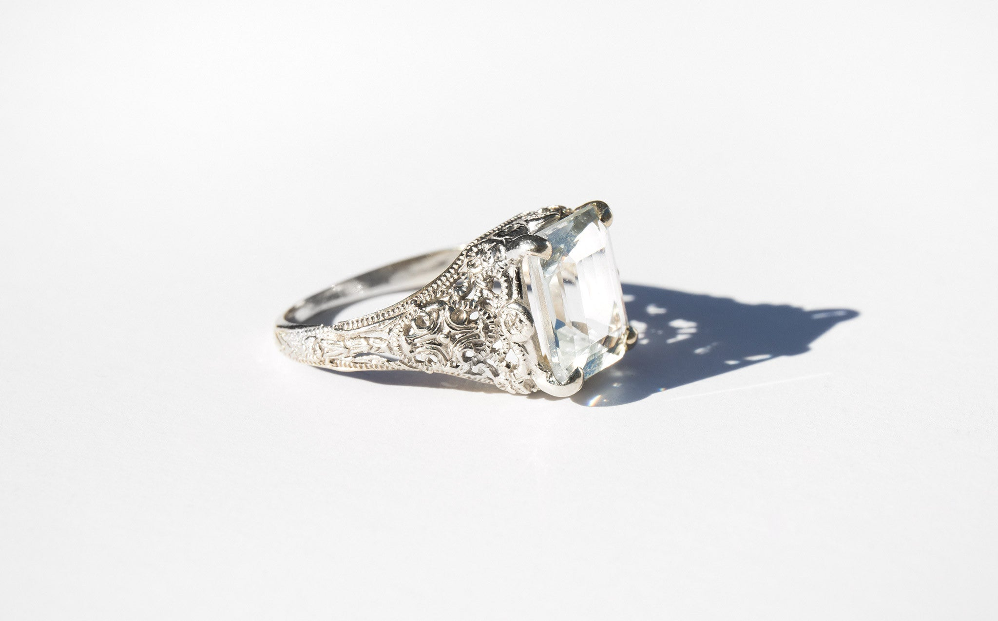 1920's Aquamarine and 14K Ring