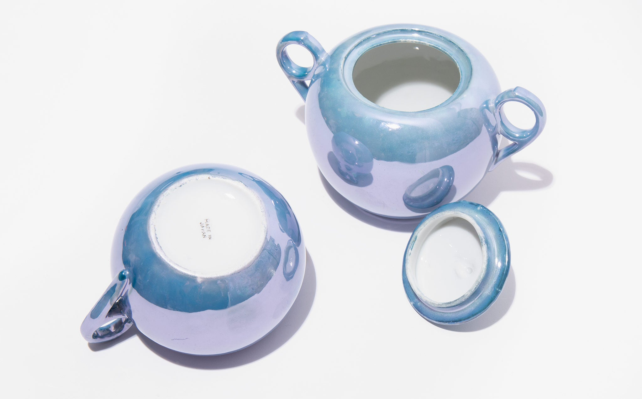 Iridescent Pale Blue Creamer And Sugar Bowl