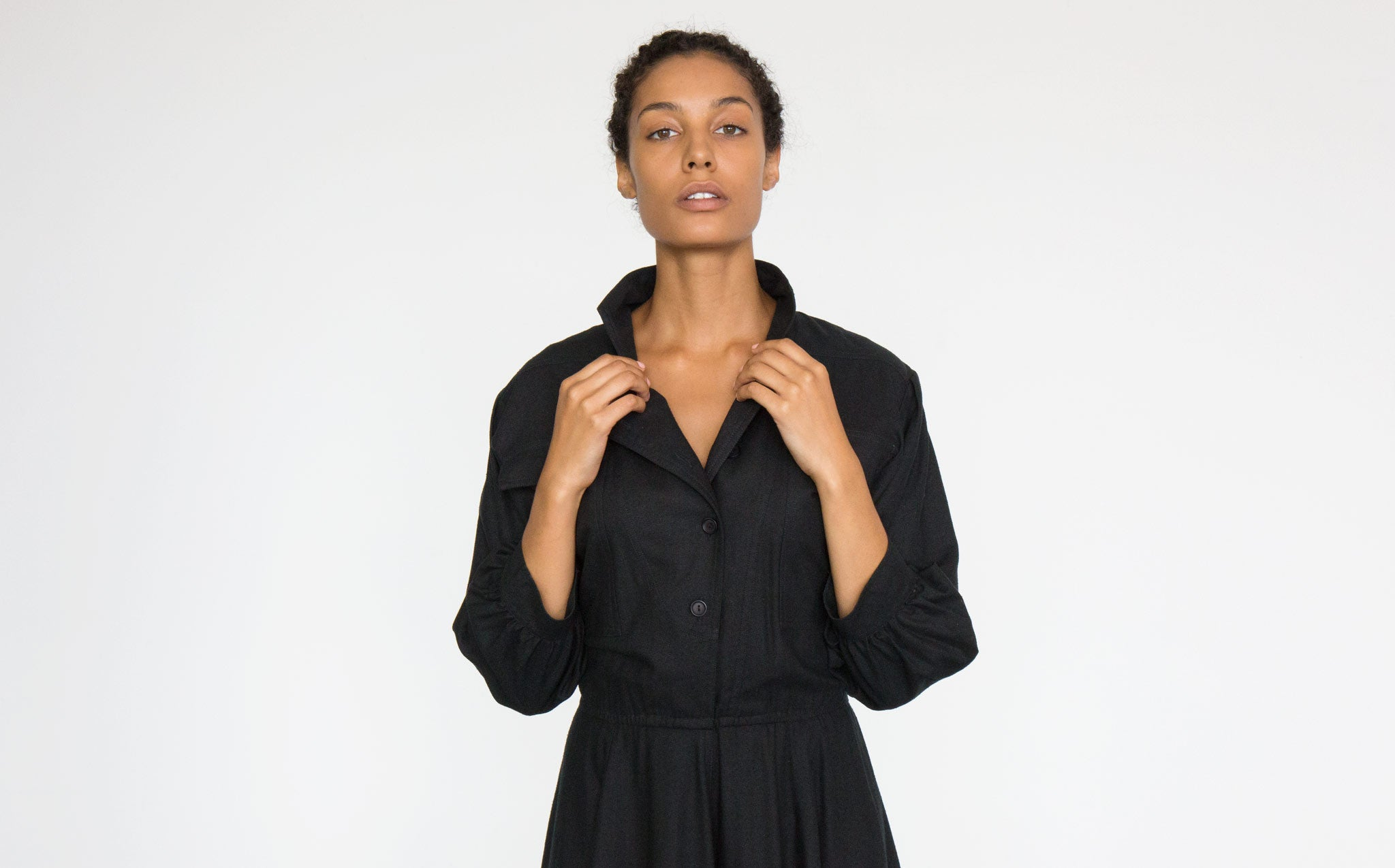 Silk Button Front Dress kindred black