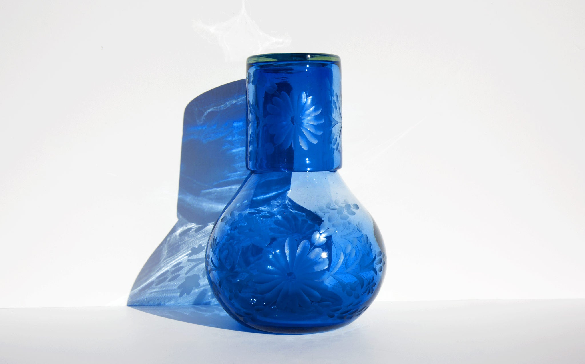 Etched Cobalt Mexican Bureau Pitcher with Glass