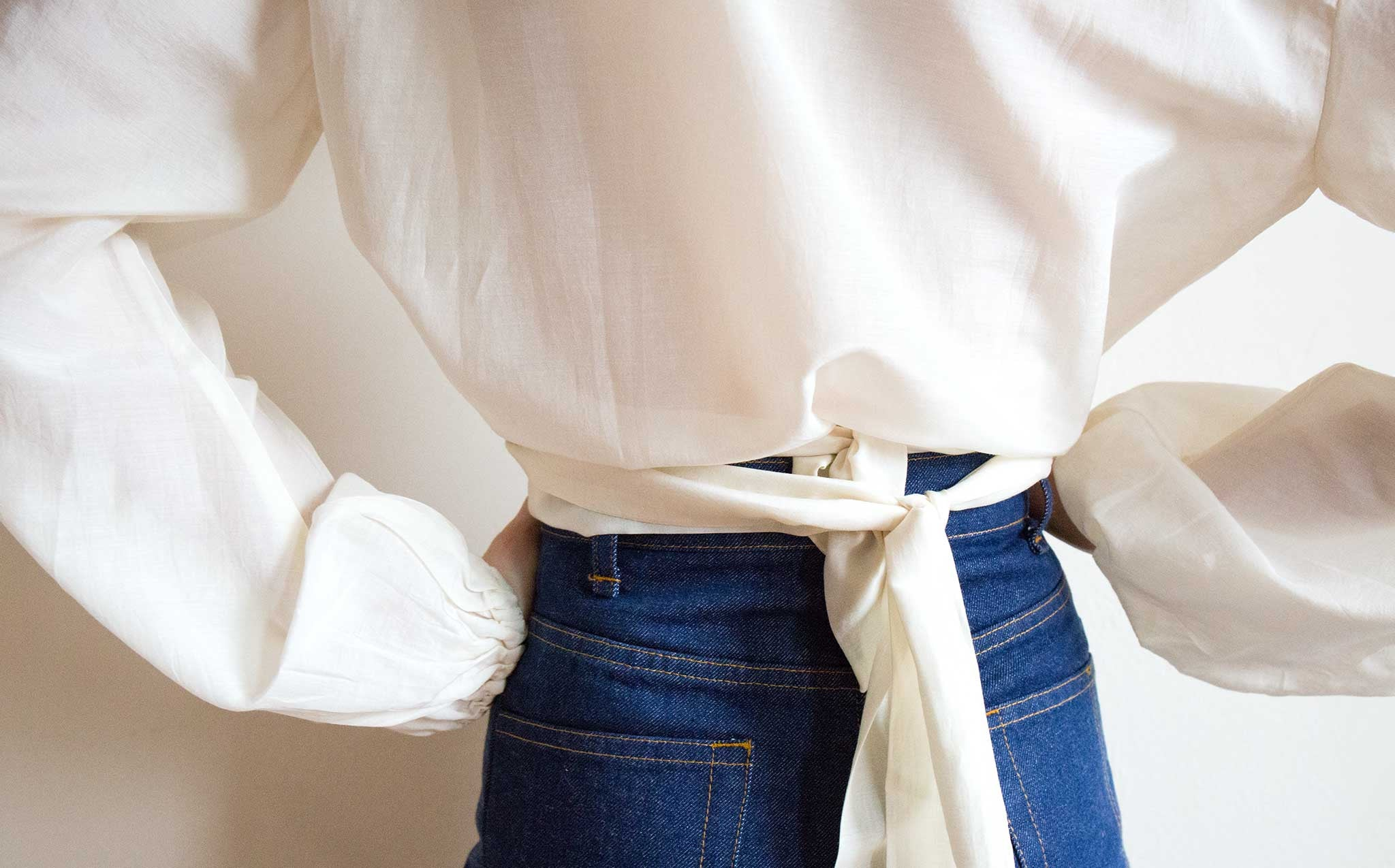 Awaveawake Orchid White Two Tie Blouse