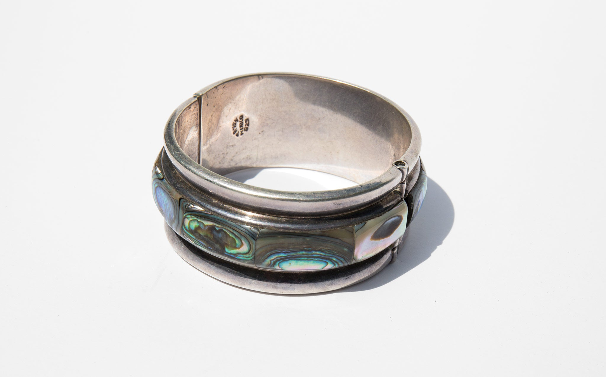 Abalone and Sterling Spring Cuff