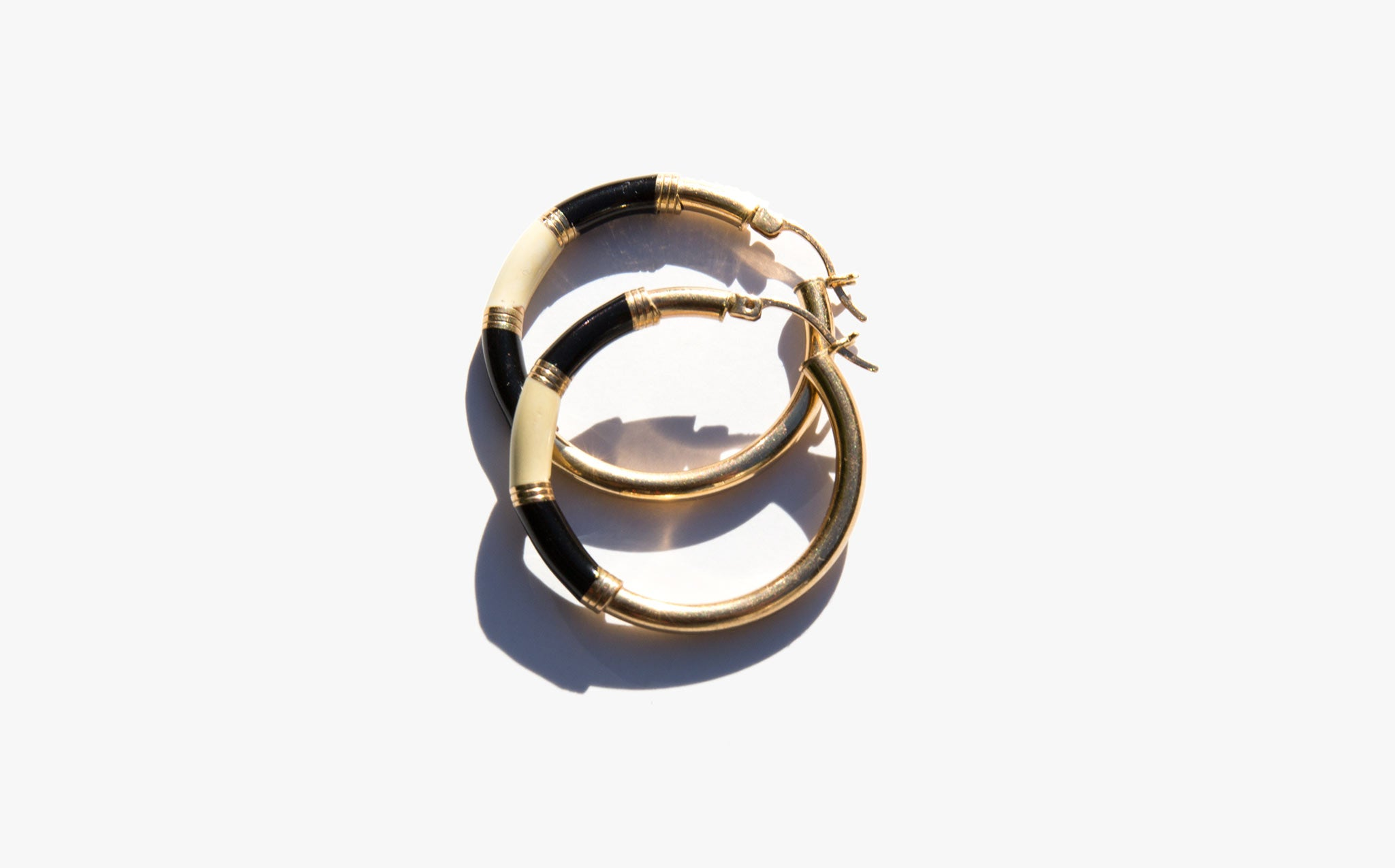 14K Gold and Enamel Hoops