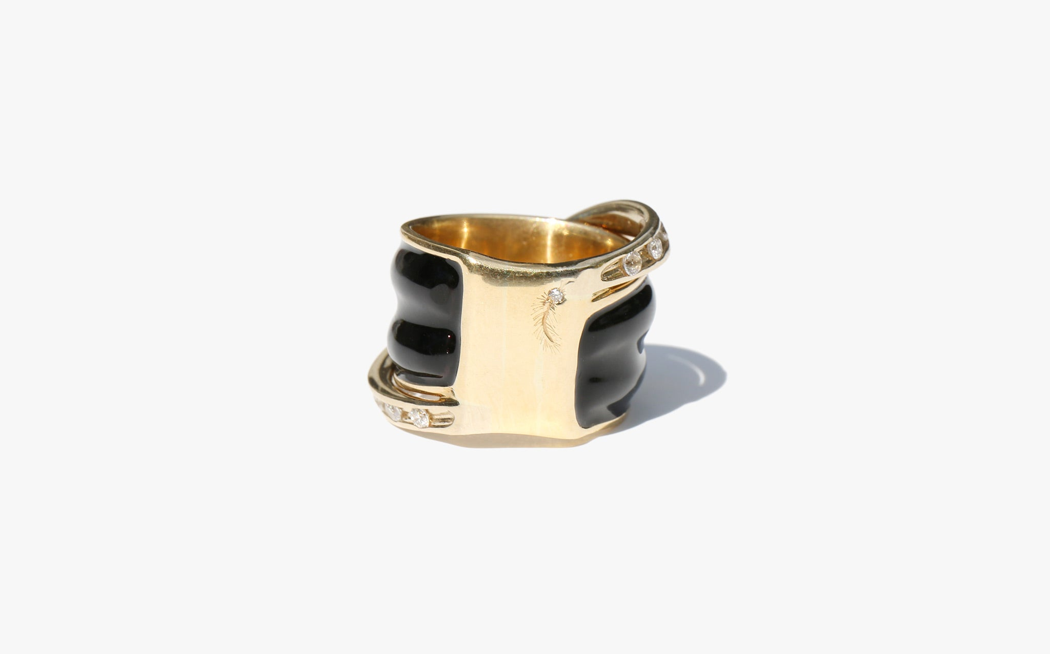 Poirot Black Onyx and Diamond Ring