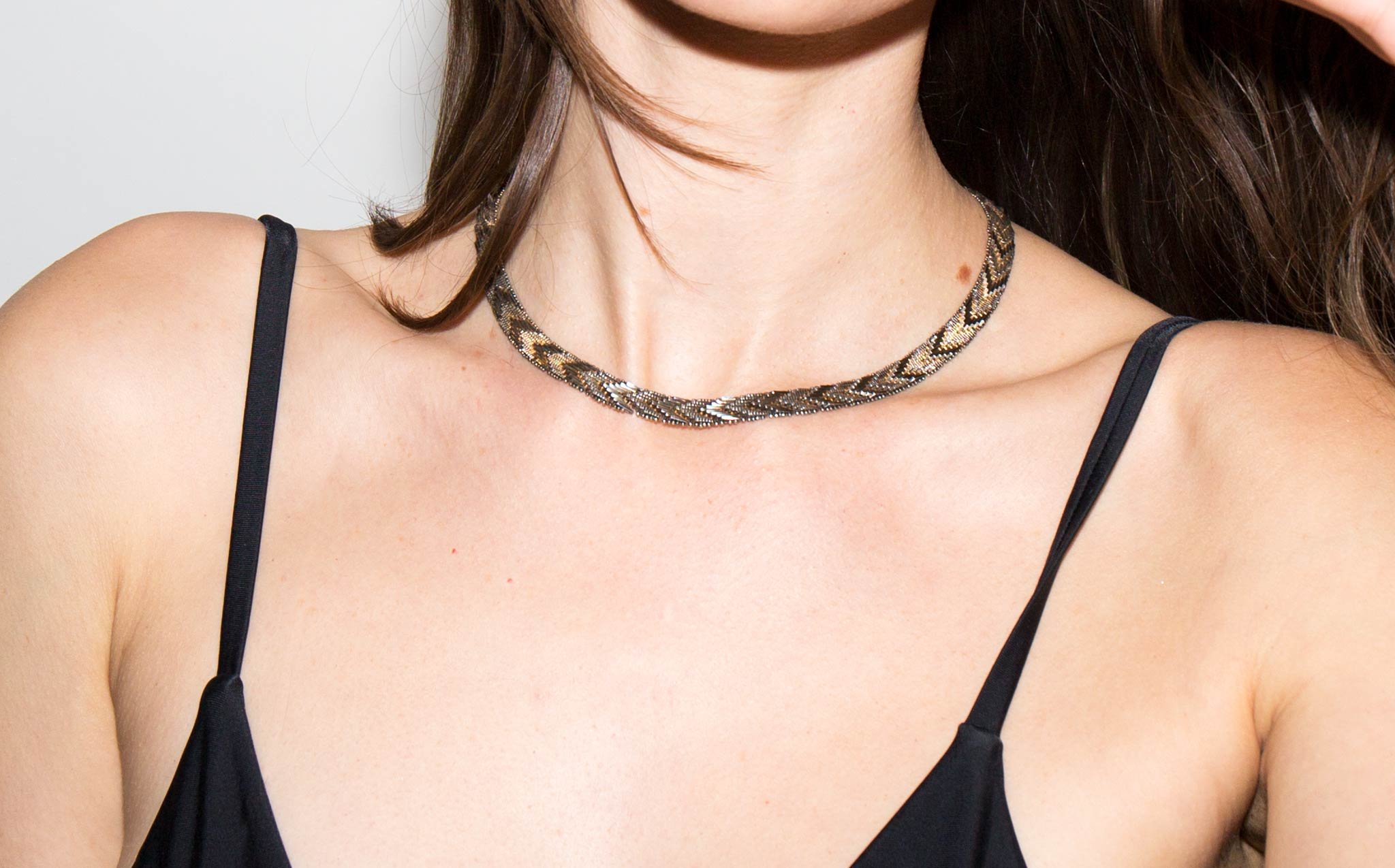 Feathered Silver Choker