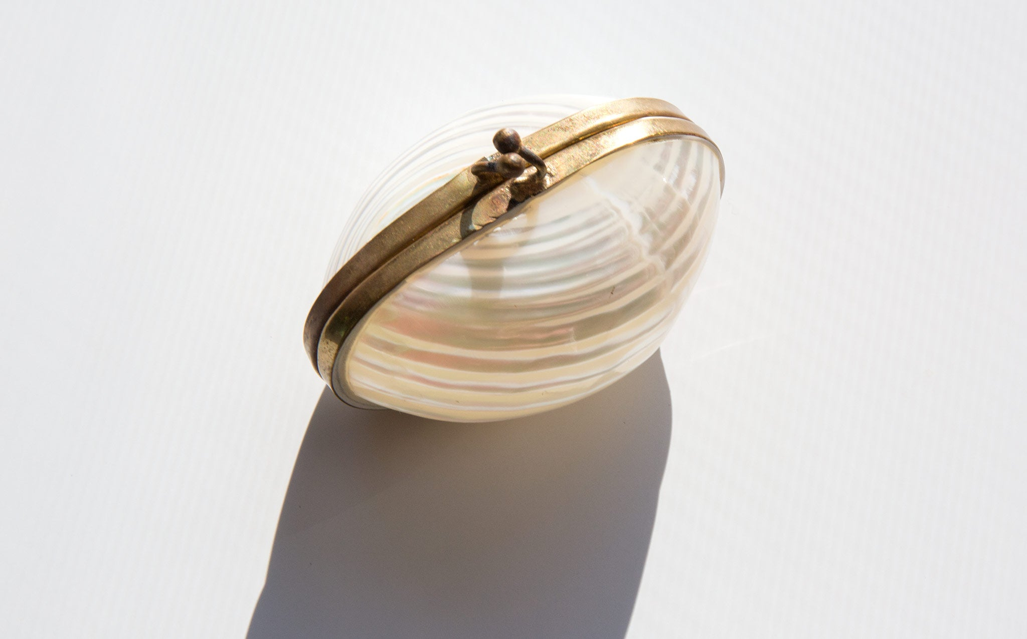 Mother of Pearl and Brass Trinket Box