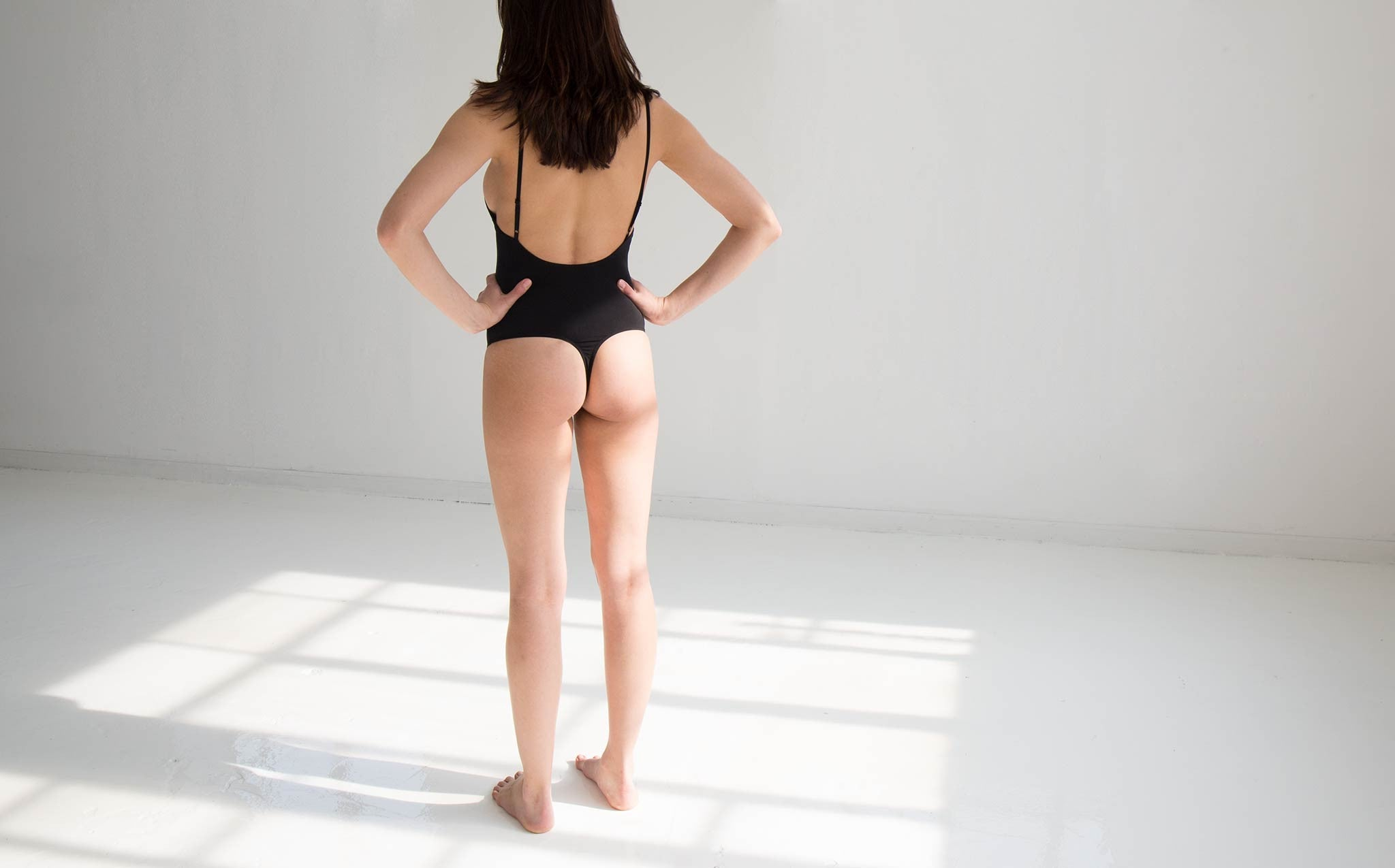 Land of Women Black Low Back Thong Bodysuit