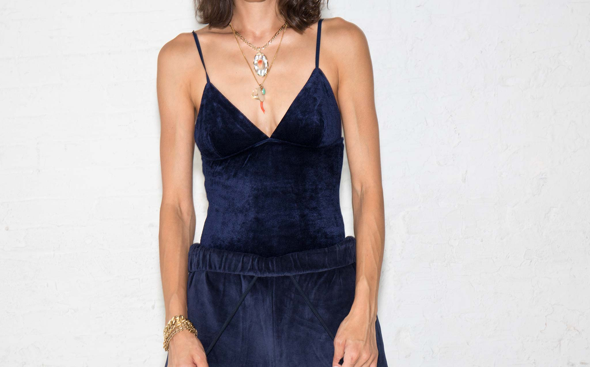 Baserange Midnight Blue Velour Mississippi Bodysuit