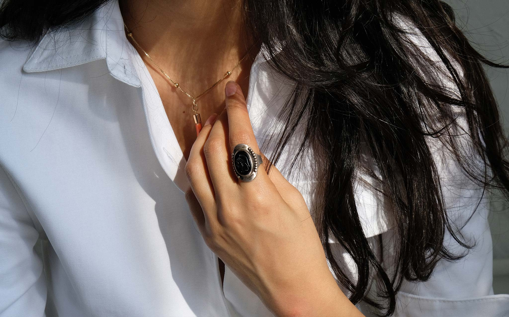 Black Glass Cameo Ring