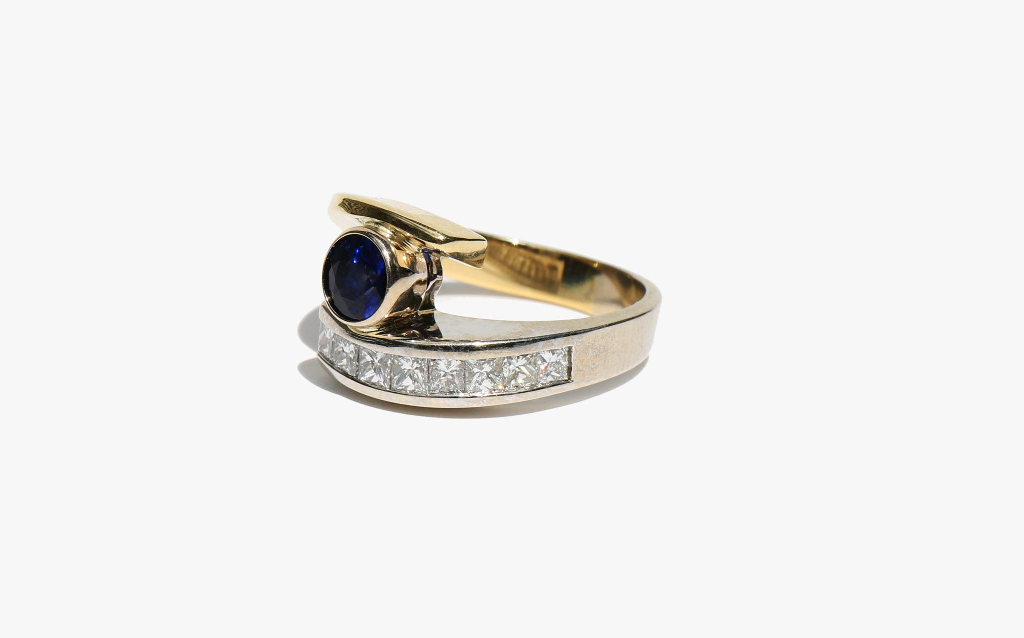 Two Tone Diamond and Sapphire Ring