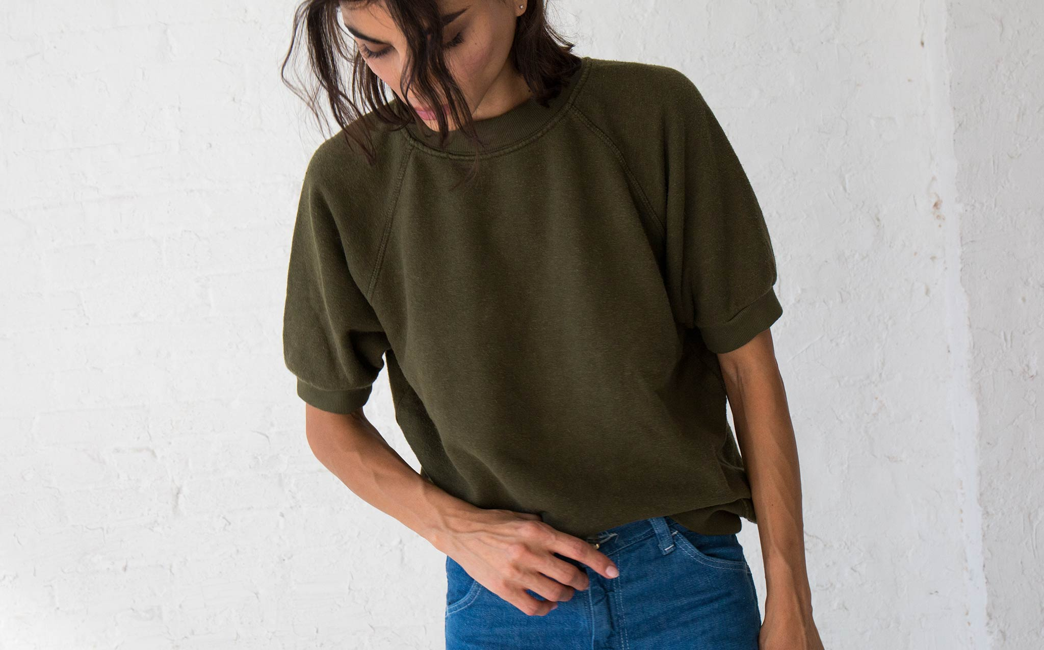 Jungmaven Supply Green Short Sleeve Raglan Fleece
