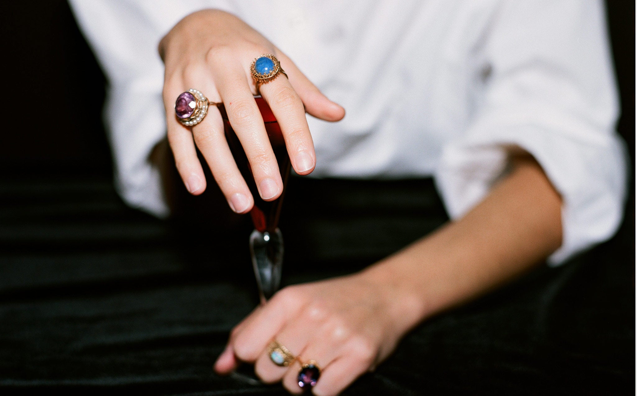 Amethyst and Seed Pearl Cocktail Ring