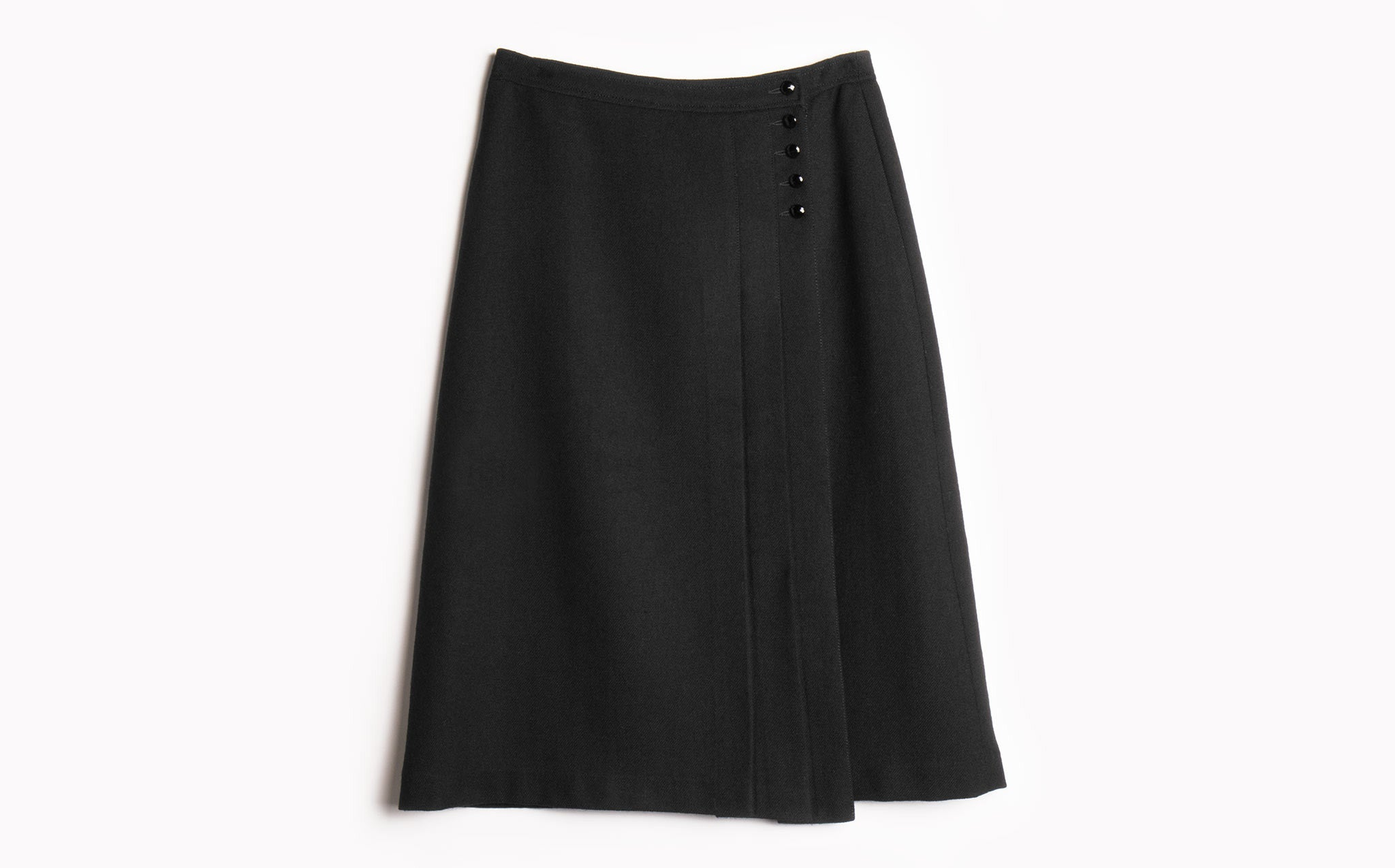 Faceted Button Wool Skirt