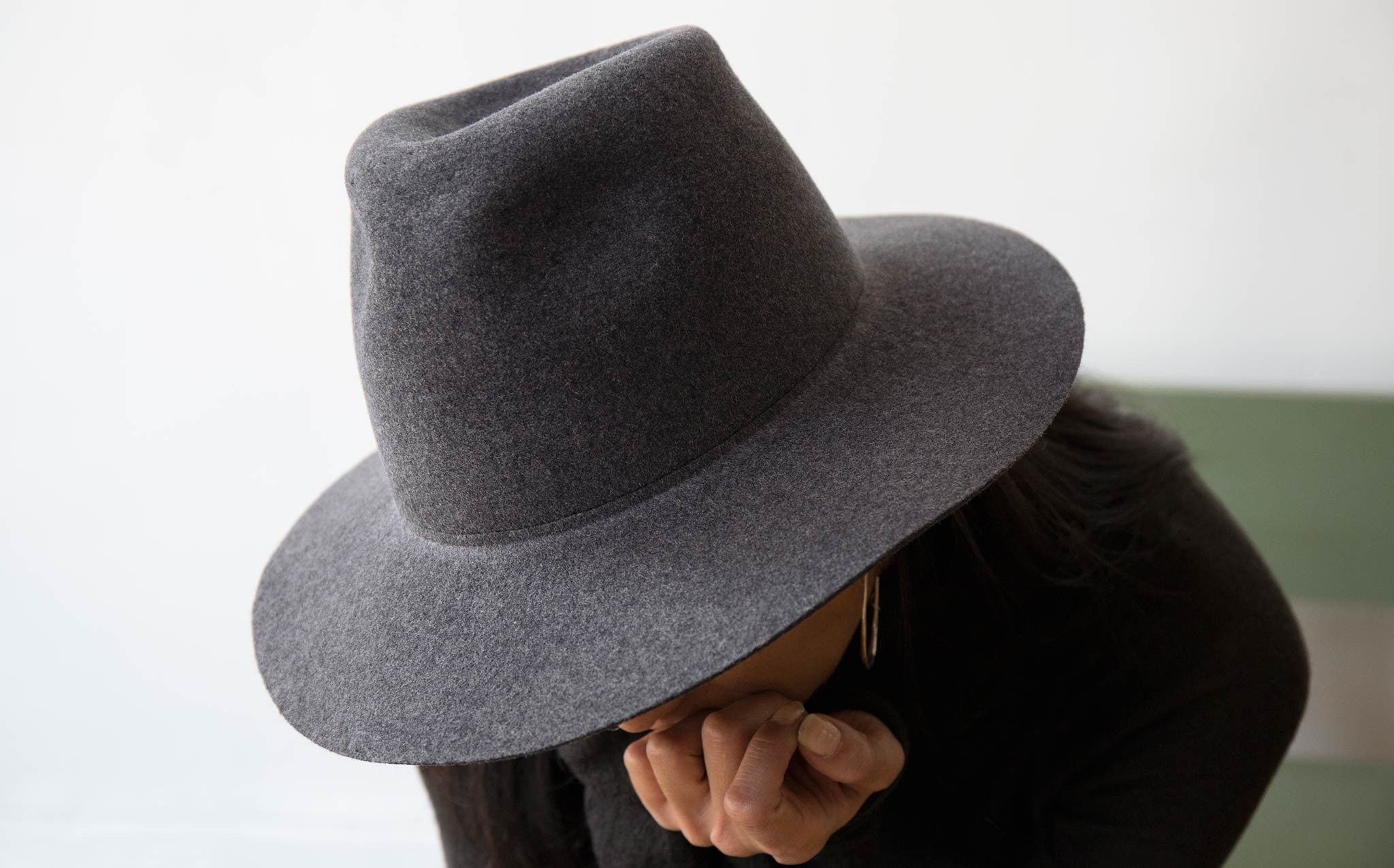 Clyde Charcoal Grey Wool Pinch Hat kindred black