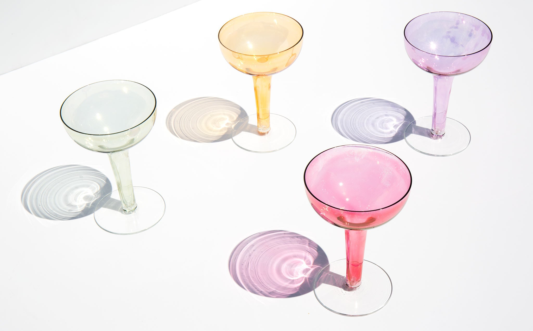 Vintage Iridescent Sherbet Colored Coupes