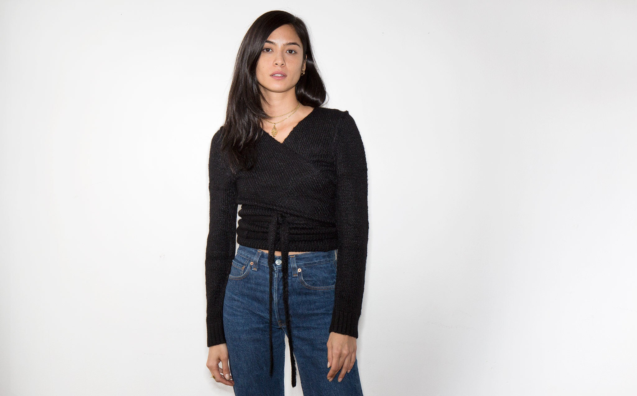 A Détacher Black Tiara Wrap Sweater