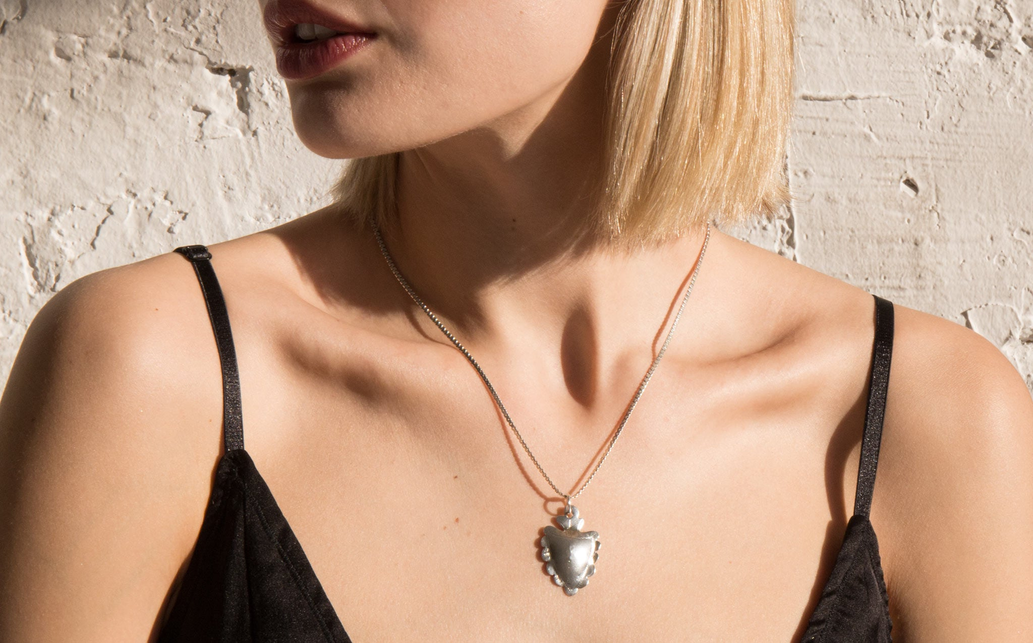 Sterling Silver Heart Milagro Necklace