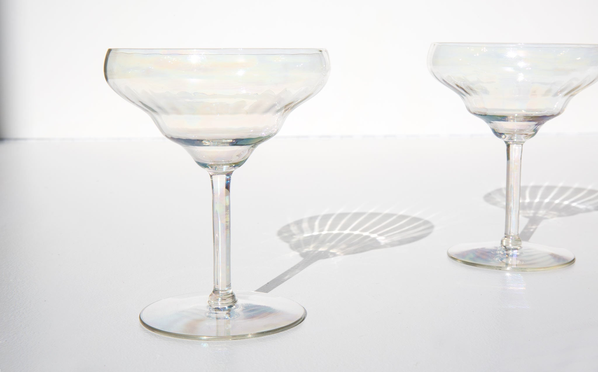 Waved Iridescent Champagne Coupes